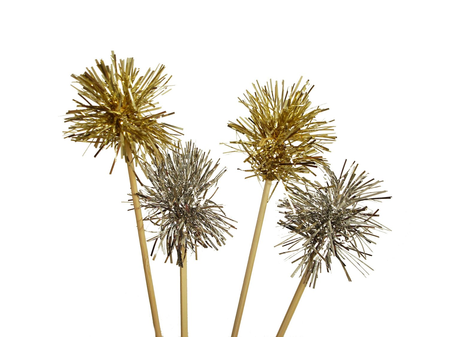 New Years Eve Decorations, tinsel silver and gold drink stirrers