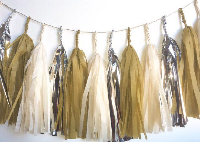 New Years Eve Decorations, silver and gold Tassel Garland