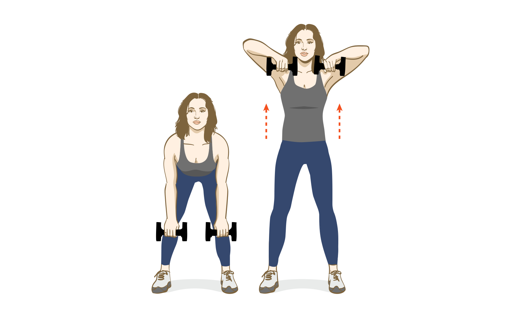 Illustration: woman with dumbells