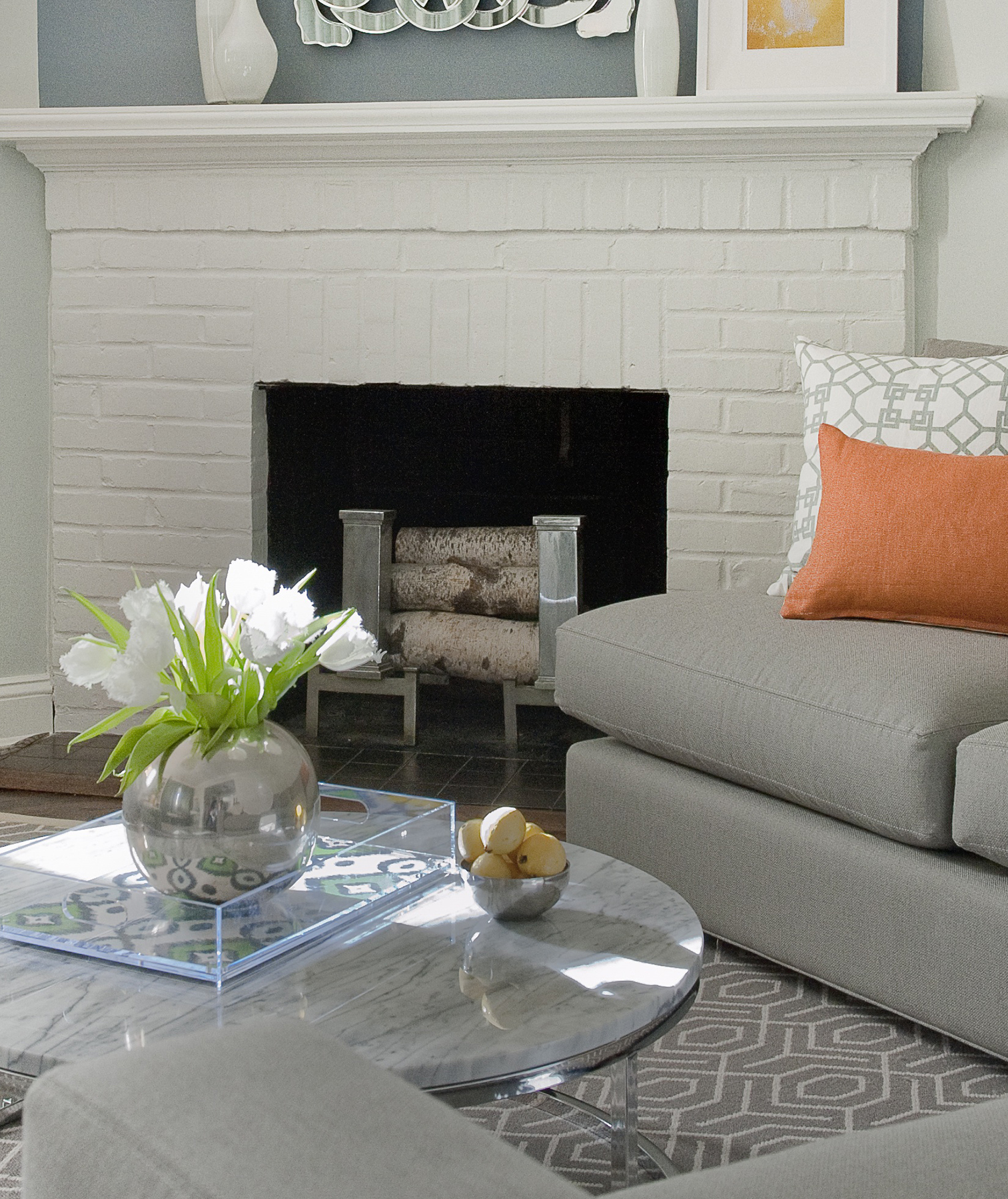 Fireplace in gray living room