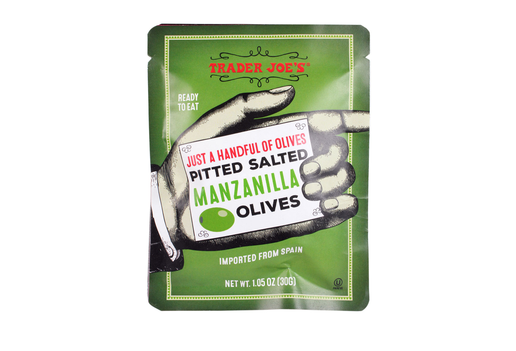 Trader Joe's products/editors' picks - Trader Joe's Just a Handful of Olives Pitted Salted Manzanilla Olives