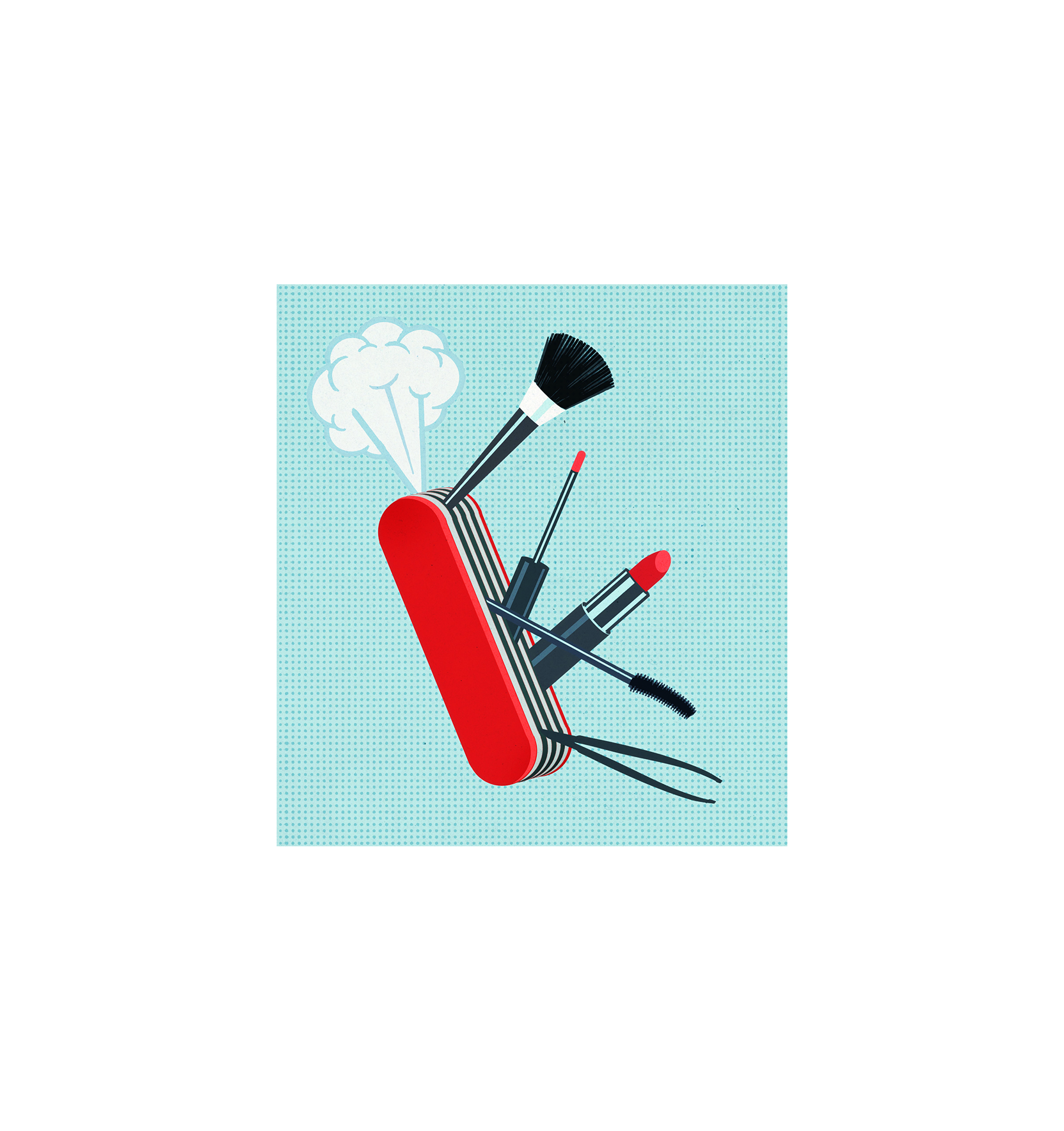 Illustration: Army knife with beauty tools