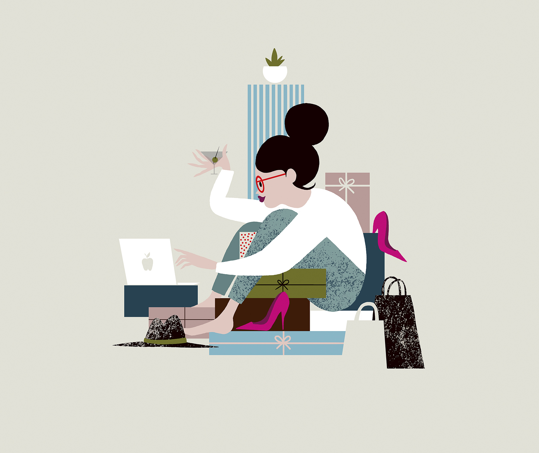 Illustration: woman multitasking while internet shopping