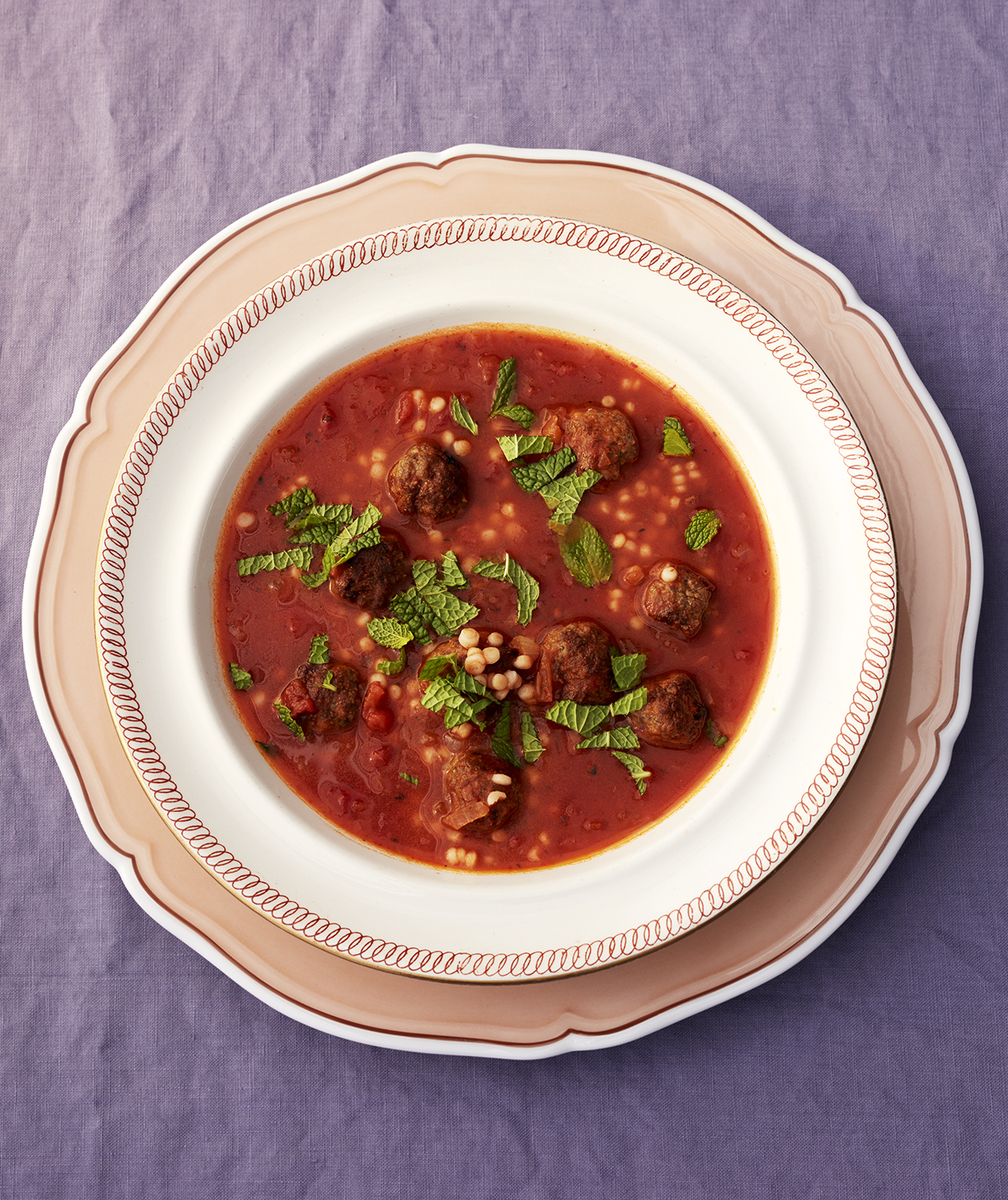 Spicy Tomato Soup With Lamb Meatballs and Israeli Couscous