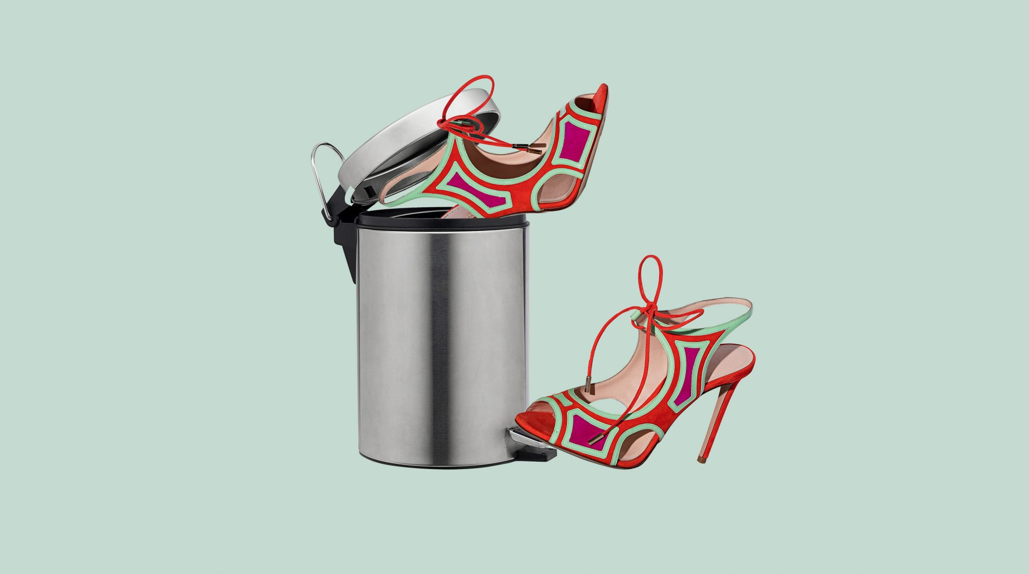 Things You Can Purge From Your Closet Right Now, heels in garbage can