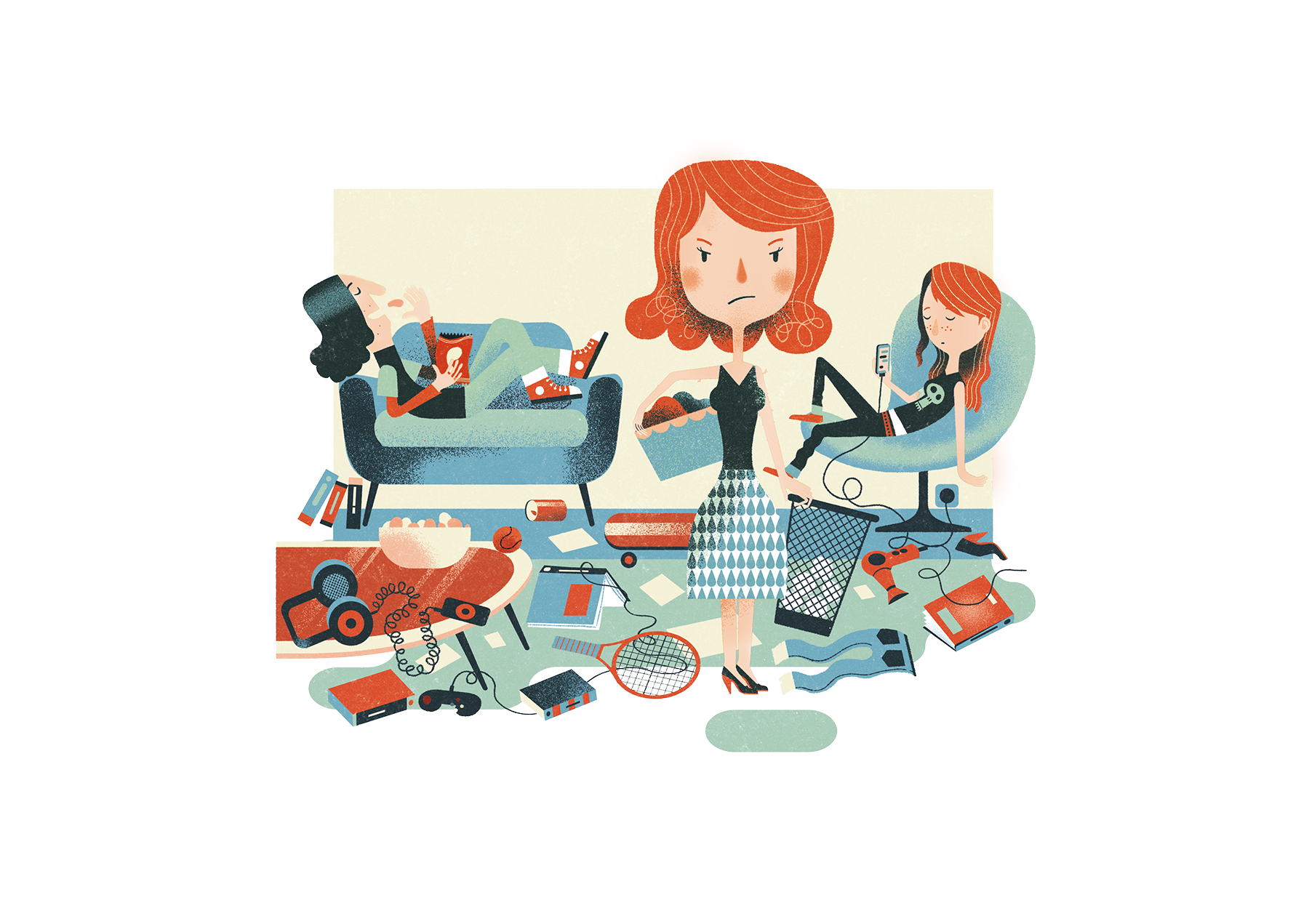 Illustration: mother dealing with messy teens