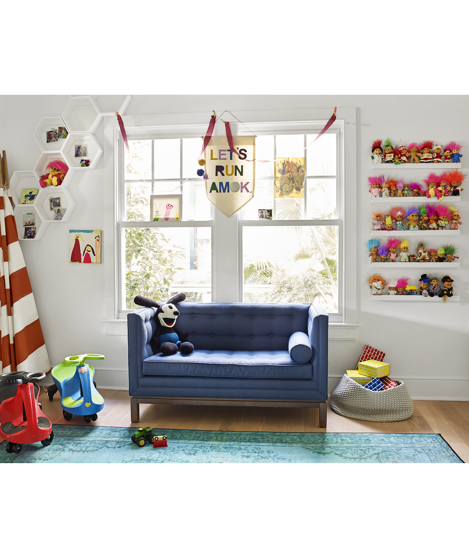 Kids' room with bright colors and trolls