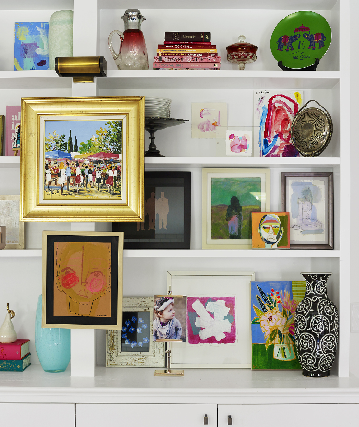 White shelves with many colored objects