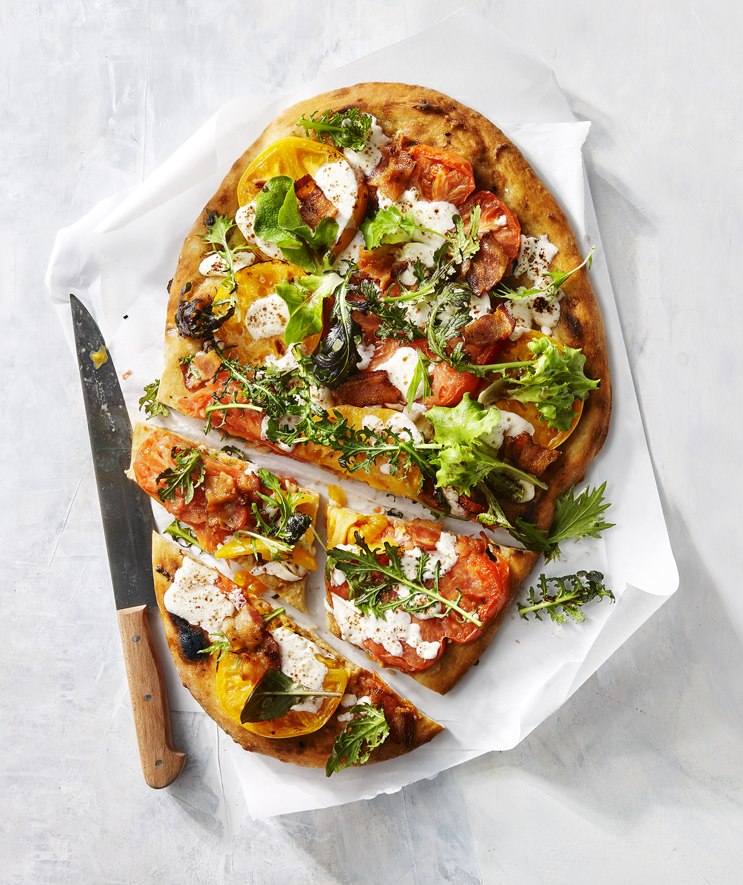 Tomato-and-Bacon Flatbread With Greens