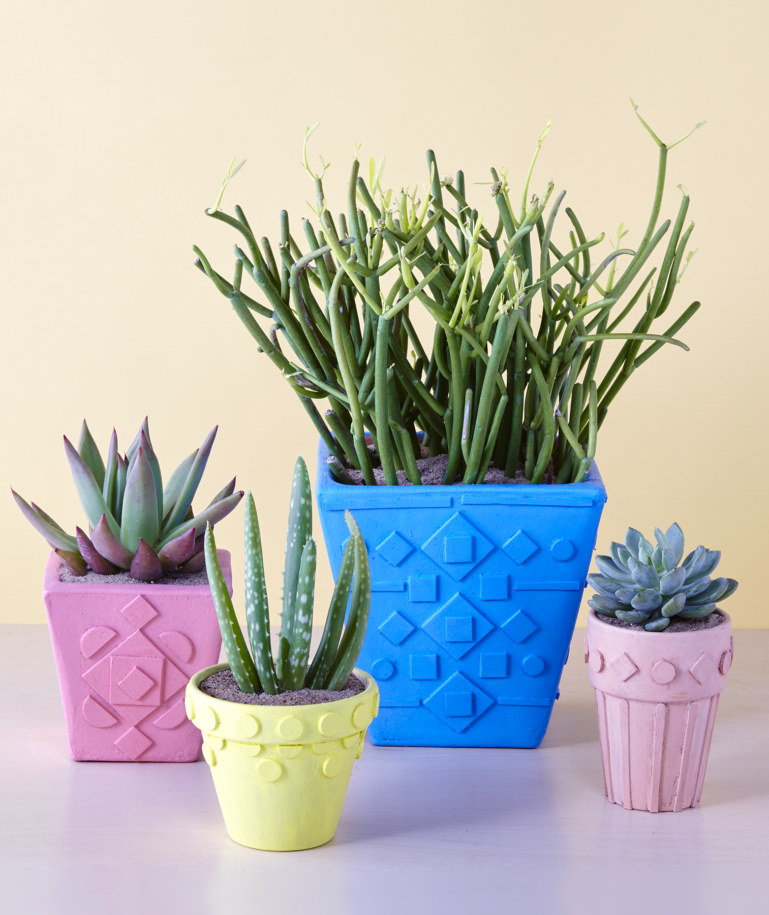 Geometric Design Terracotta Pots