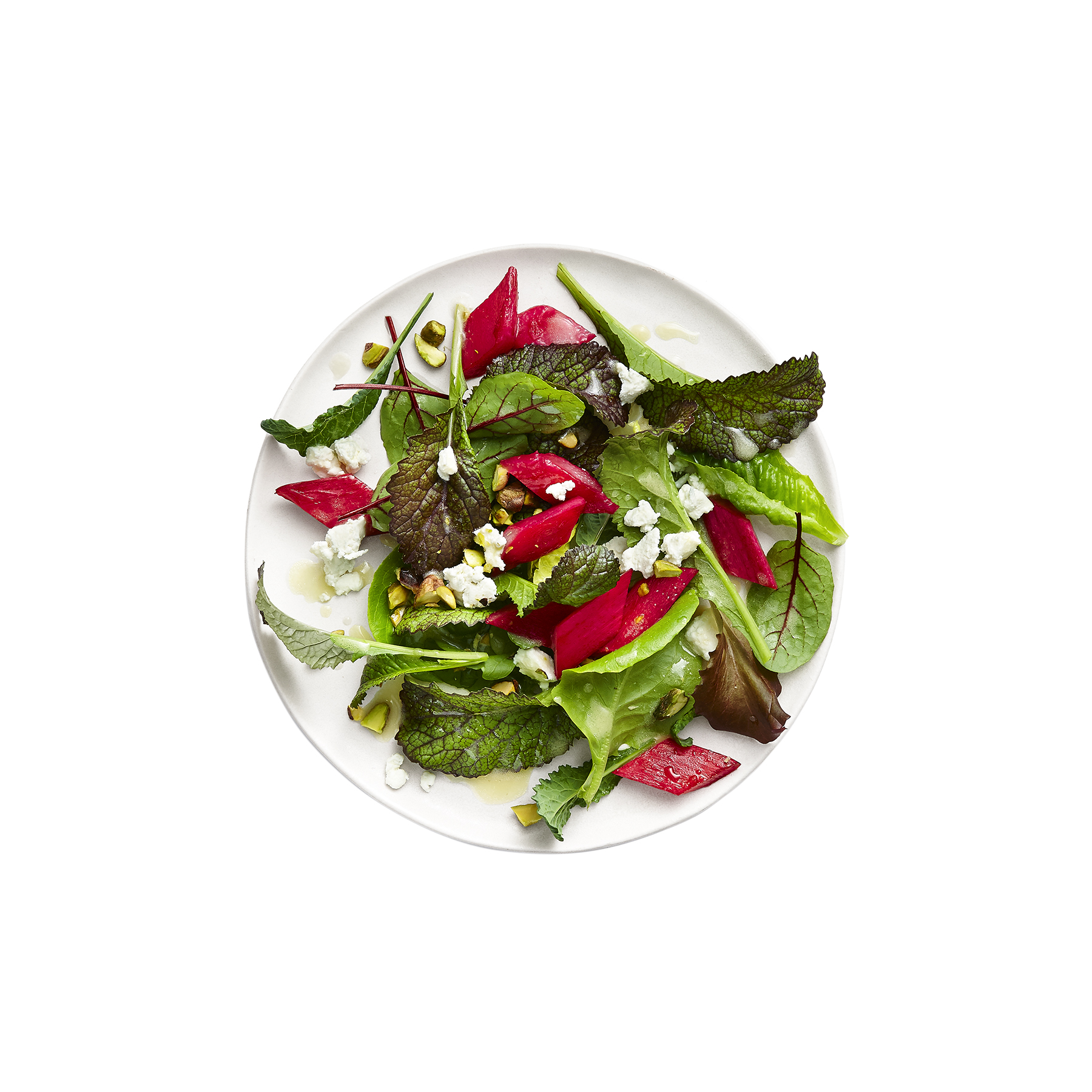 Roasted Rhubarb Salad With Goat Cheese and Pistachios