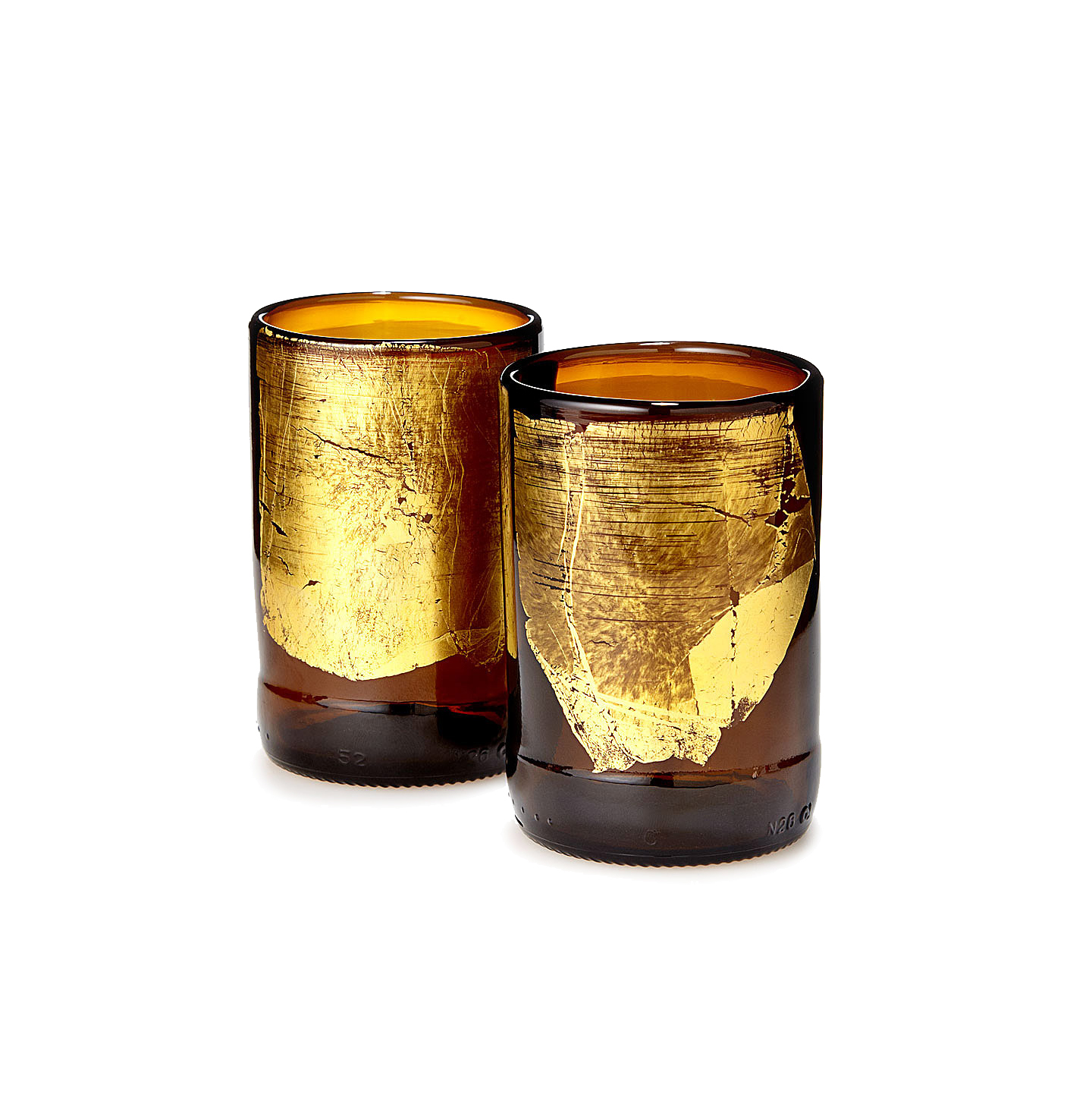 Gold Leaf Upcycled Beer Bottle Glasses