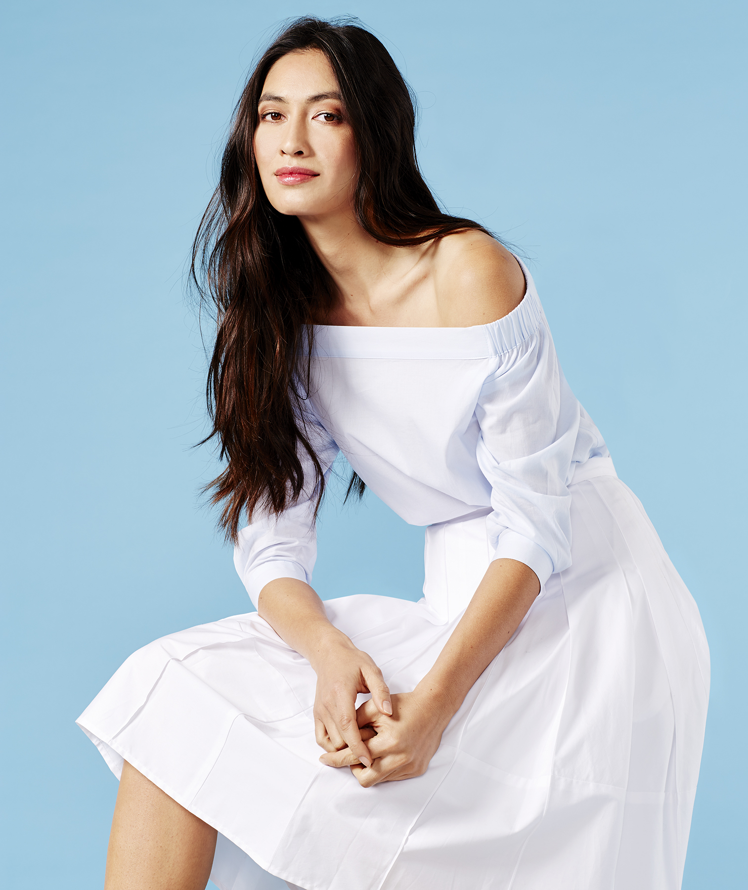 Outfit with off-the-shoulder top and white skirt