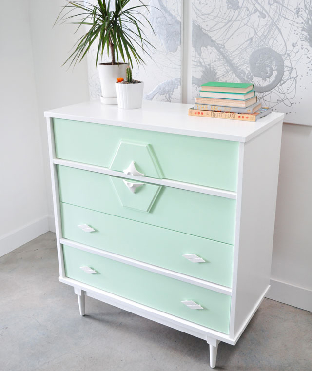 Mint and white repainted vintage dresser