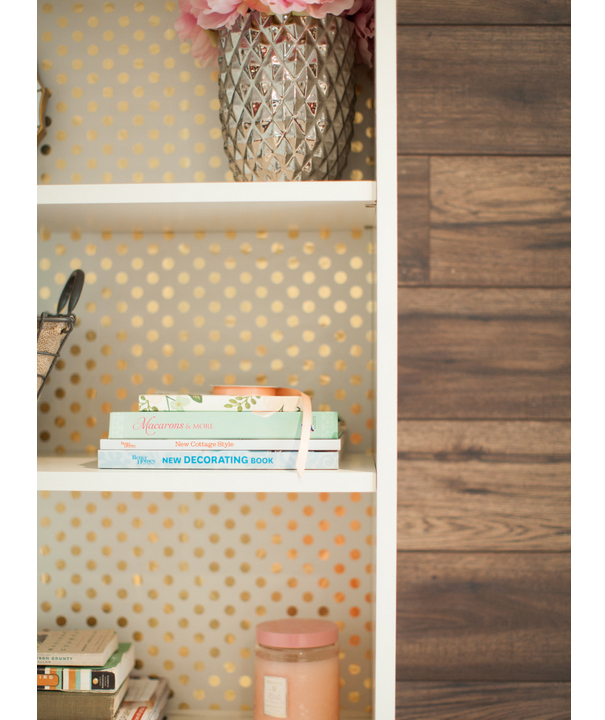 Wrapping paper-backed bookshelf