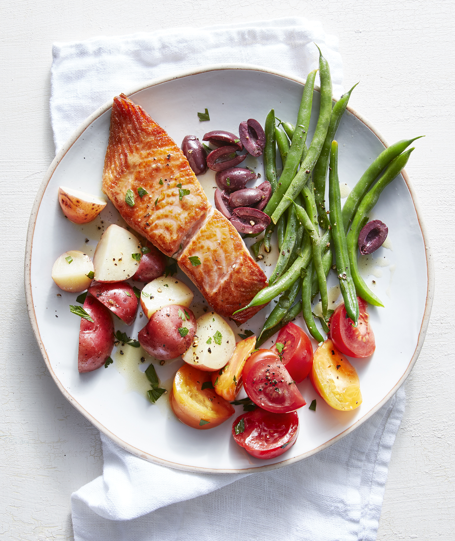 Lemon-Dijon Salmon With Potatoes and Green Beans