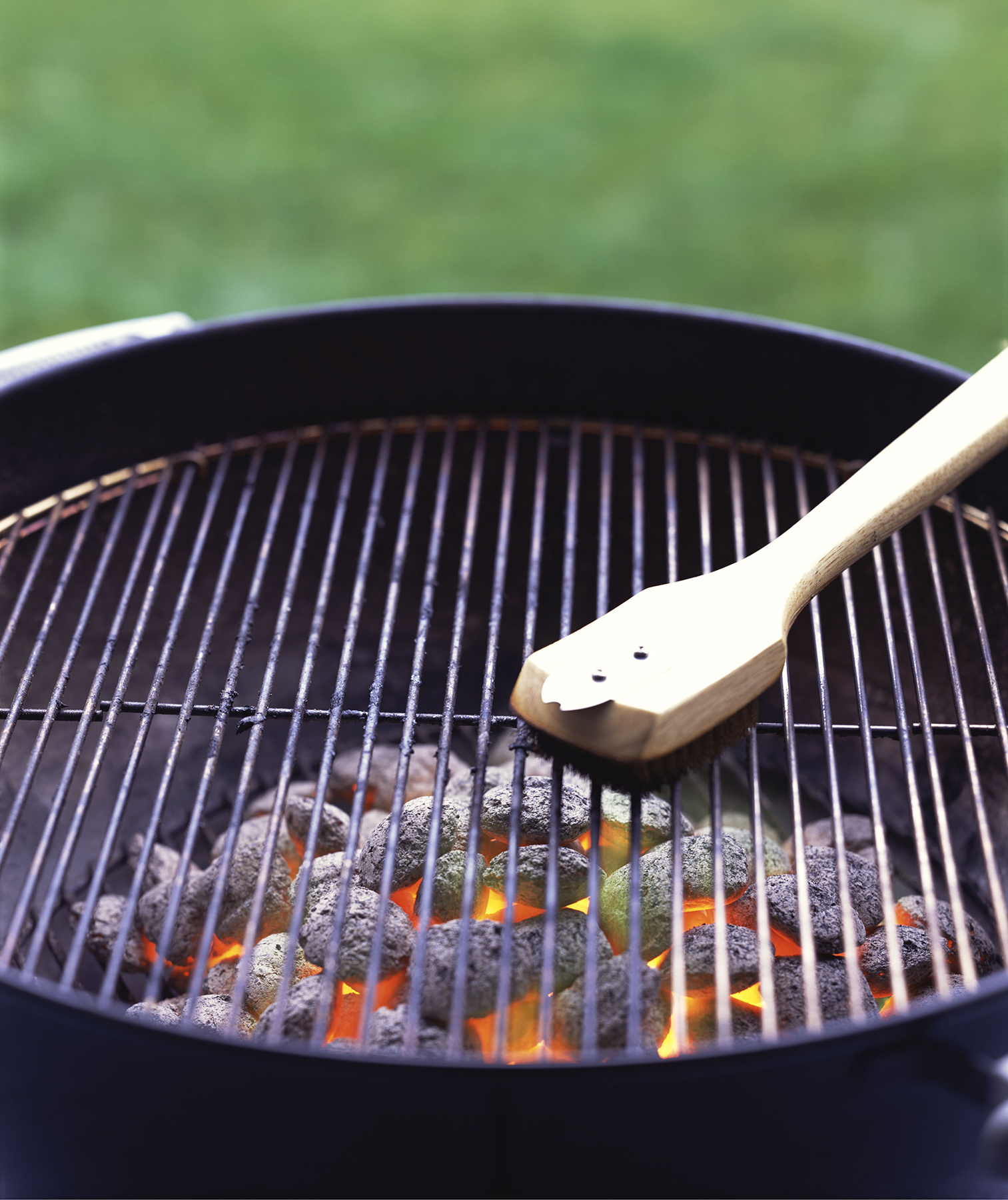 Outdoor charcoal grill with brush