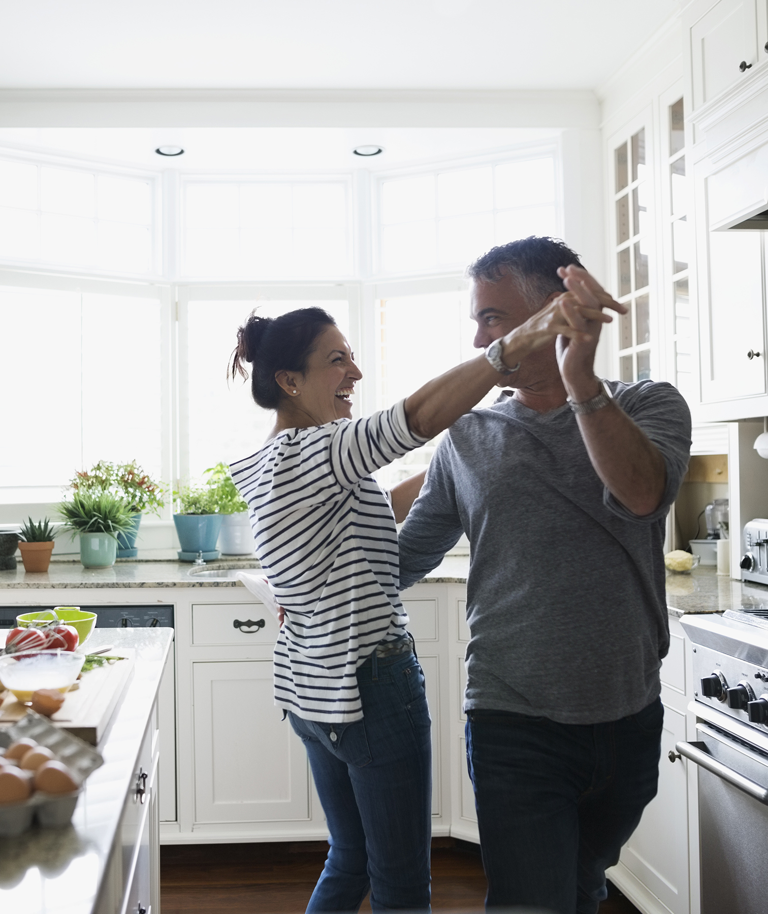 Couple dancing in the kitchen