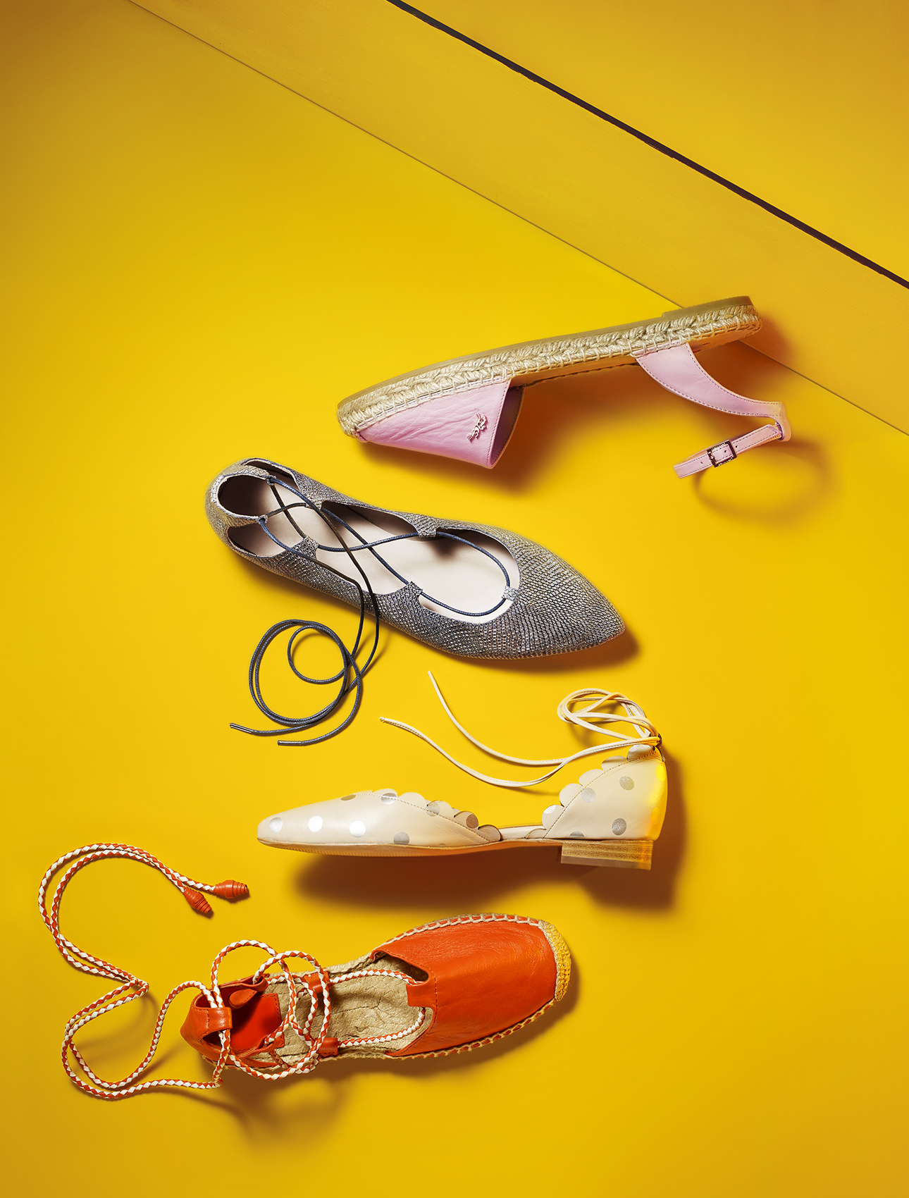 Ankle wrap flats against yellow background