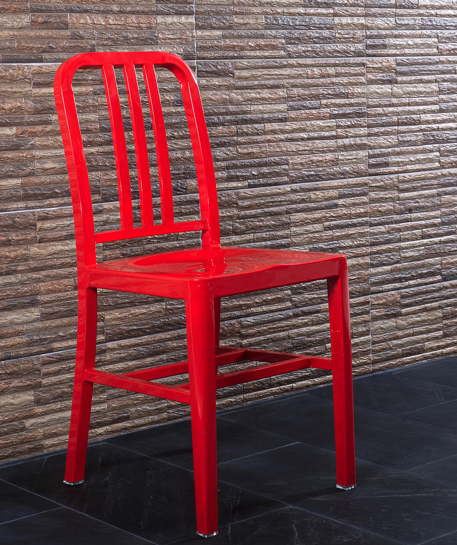 Red painted metal chair