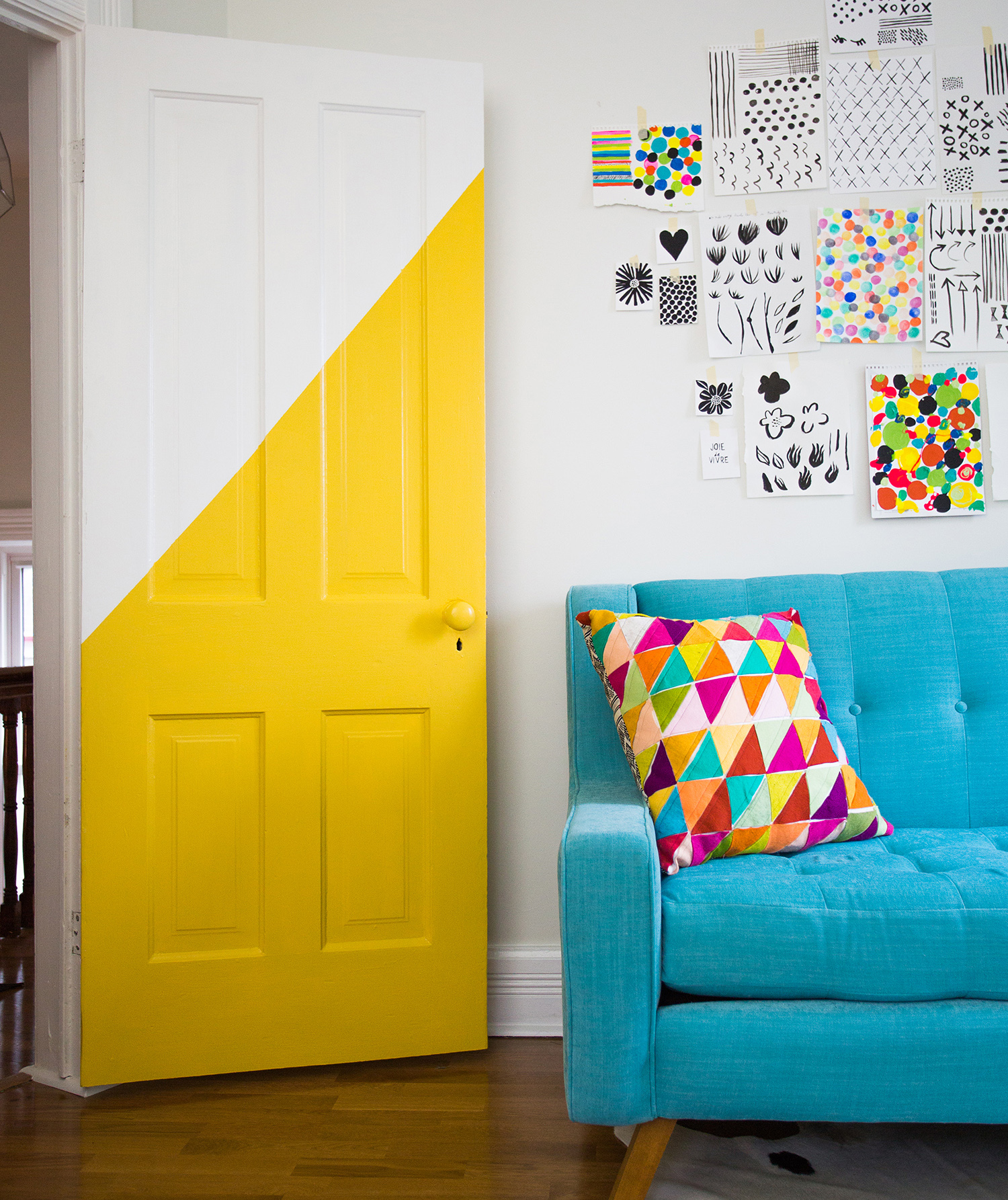 Yellow and white painted door