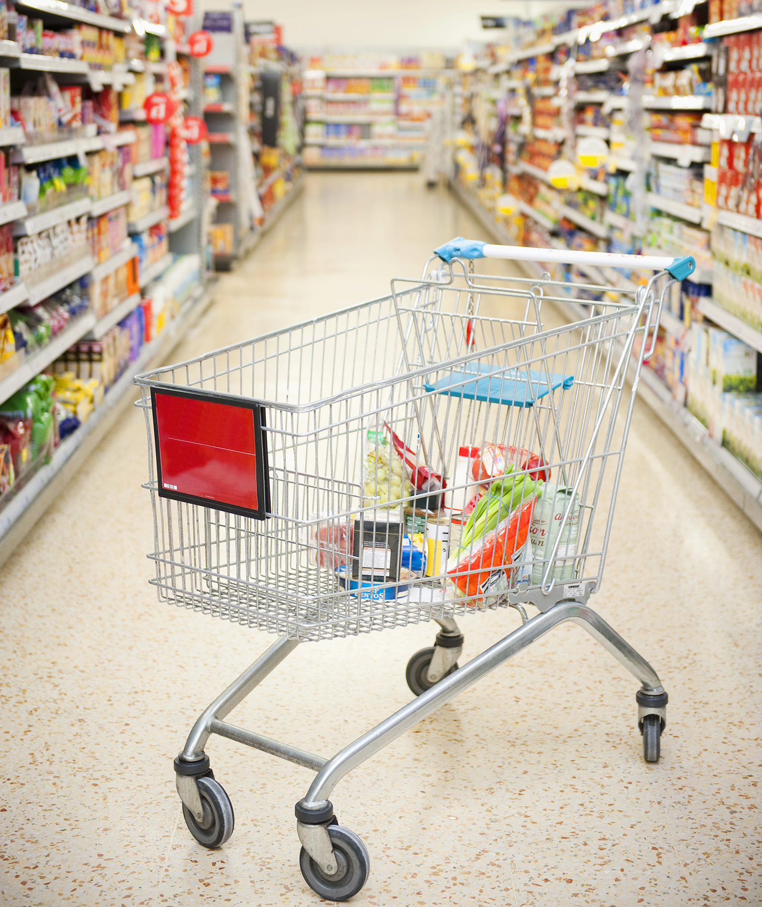 Grocery store aisle and cart