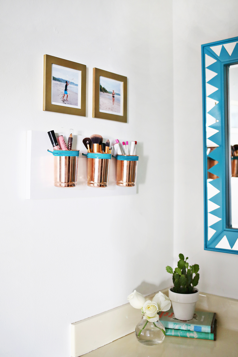 Leather and Copper Cup Organizer