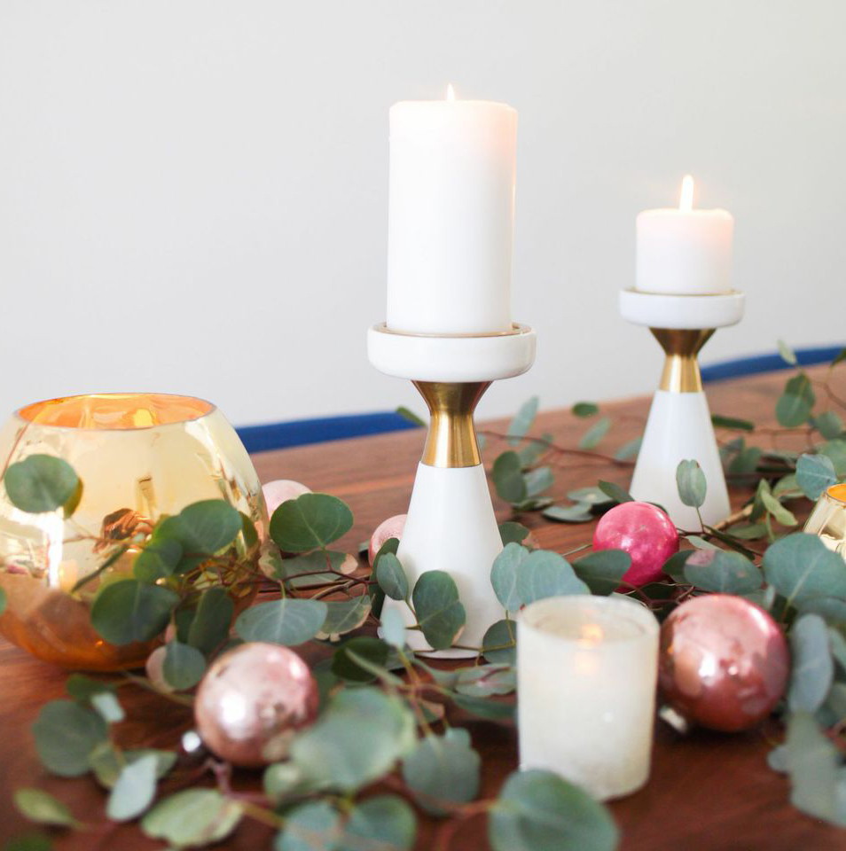 Candles and eucalyptus leaves
