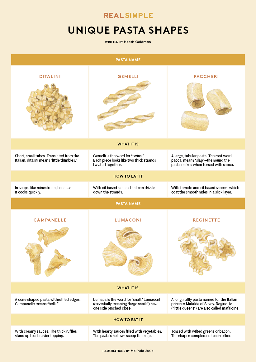 Different types of pasta chart - types of pasta infographic