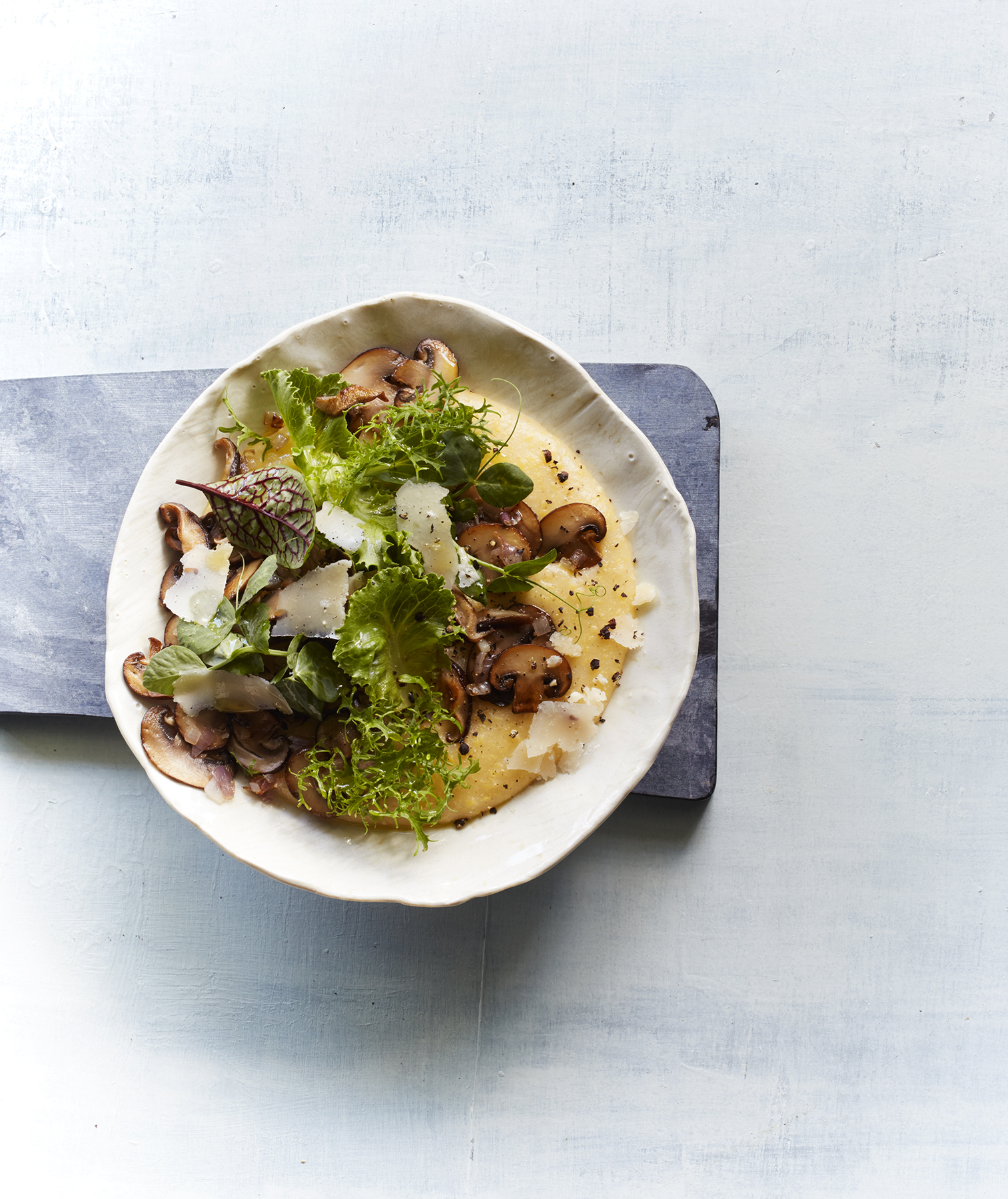 Creamy Polenta With Mushrooms and Baby Greens