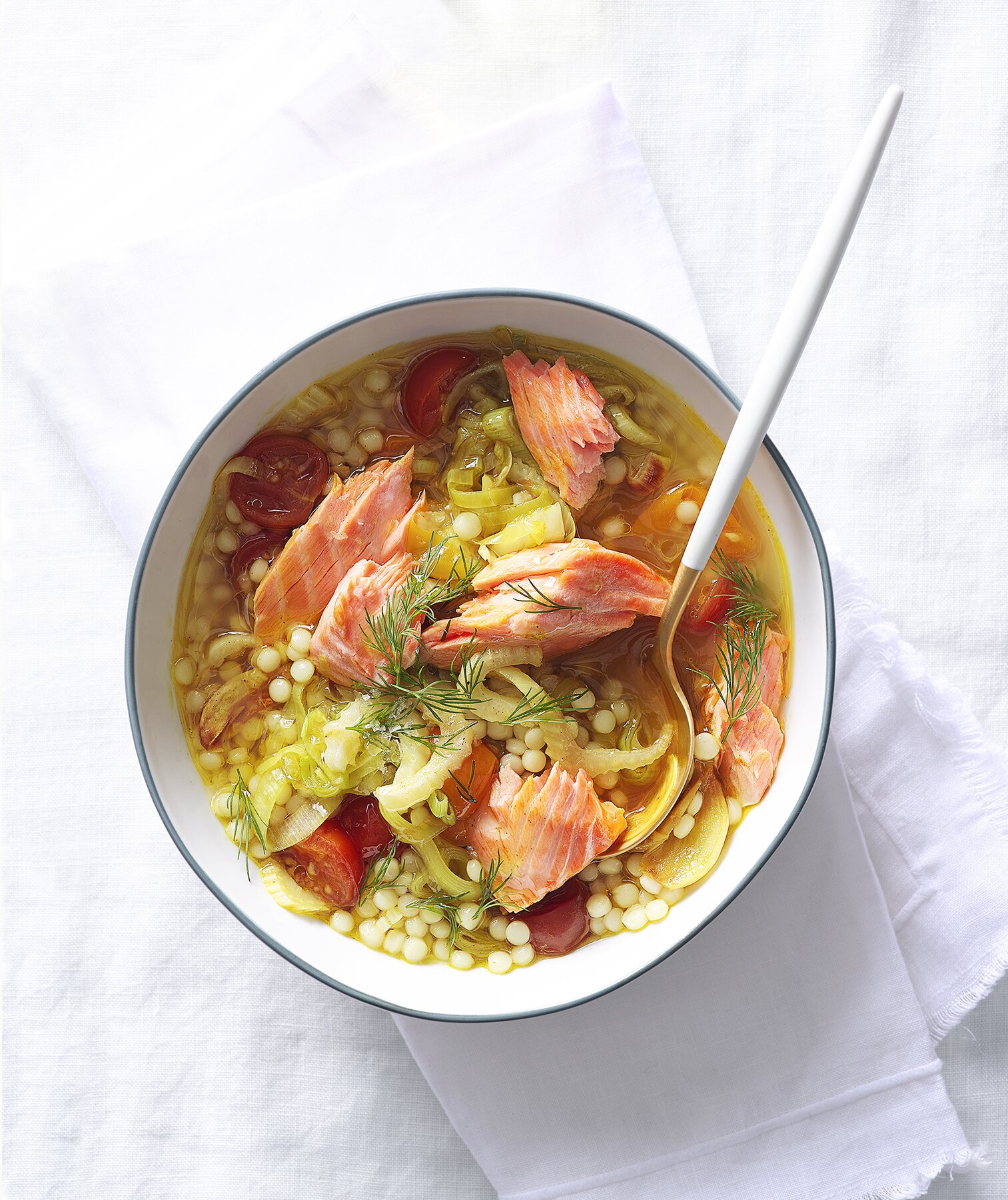 Vegetable Soup With Pearl Couscous And Salmon Recipe Real Simple