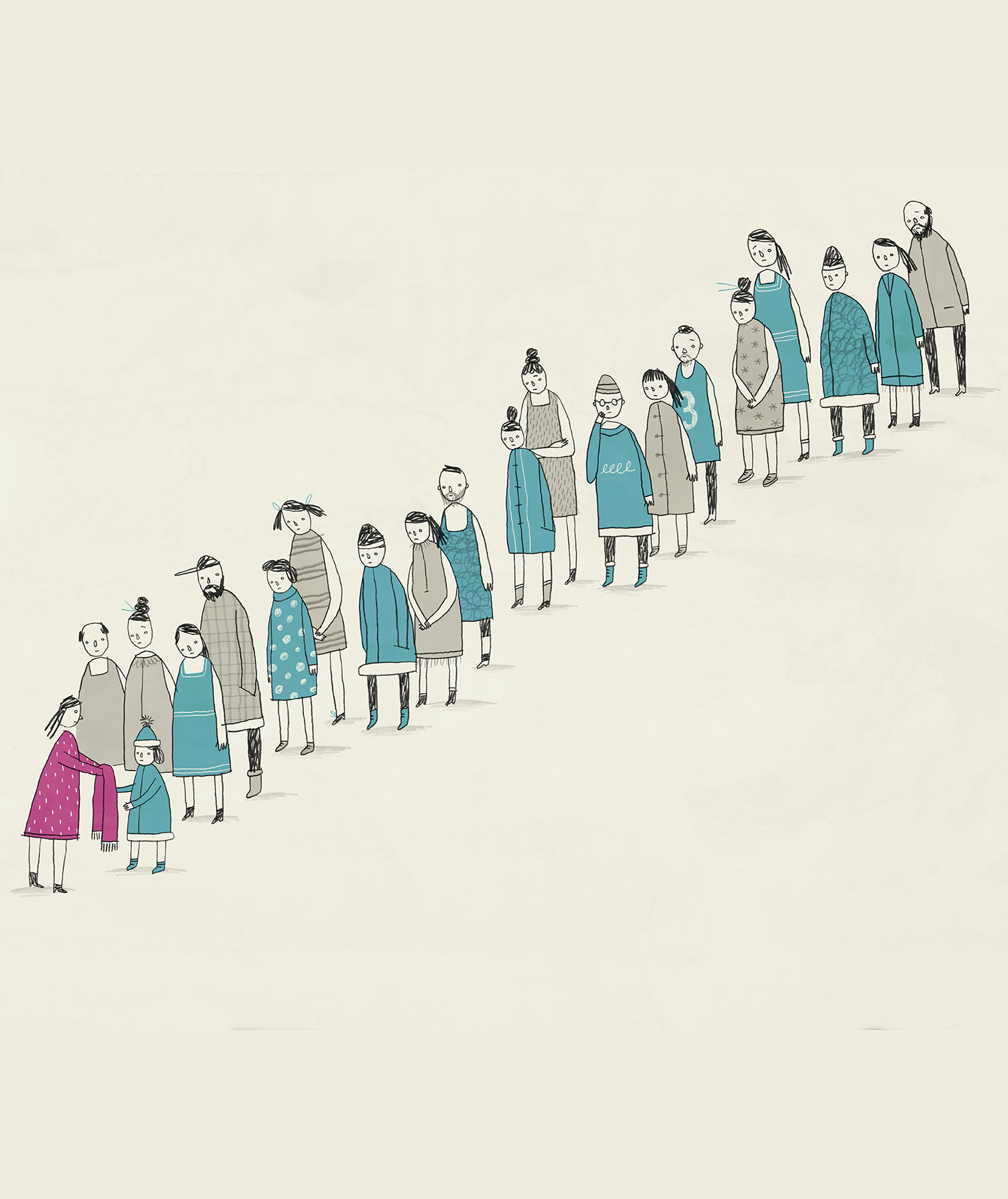 Illustration: People lined up for donations