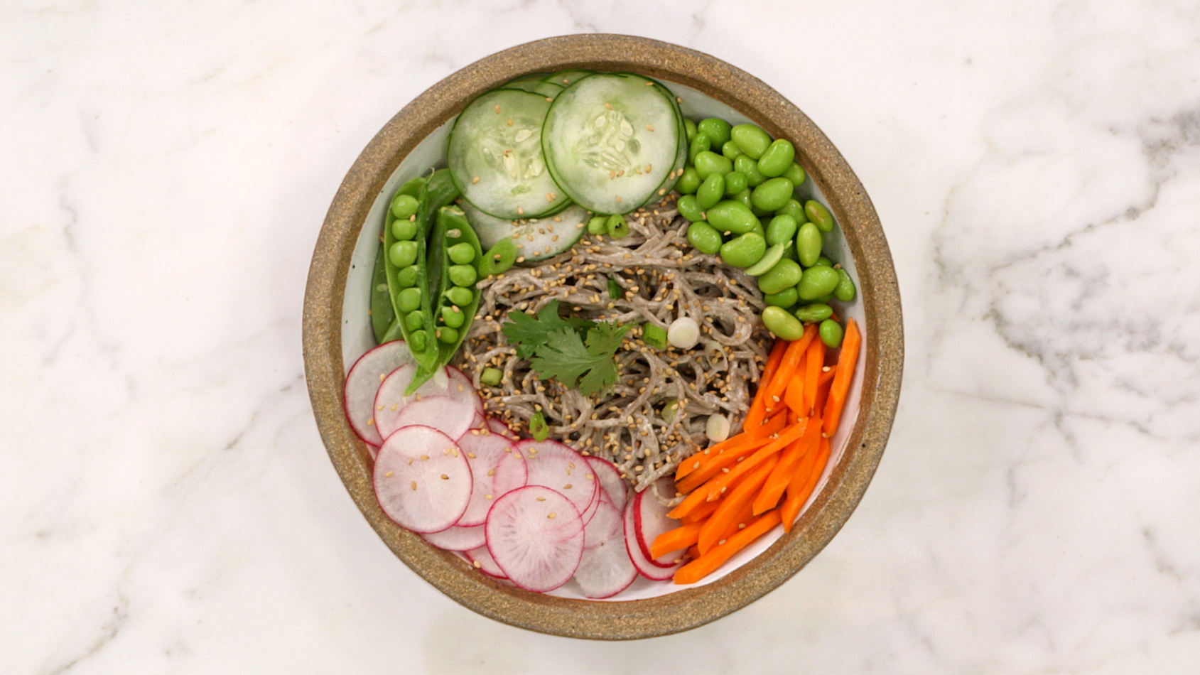 Soba Noodle Veggie Bowl With Tahini Dressing