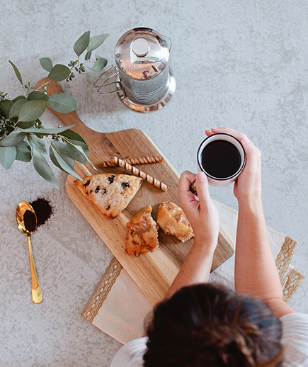 breakfast with coffe and scones