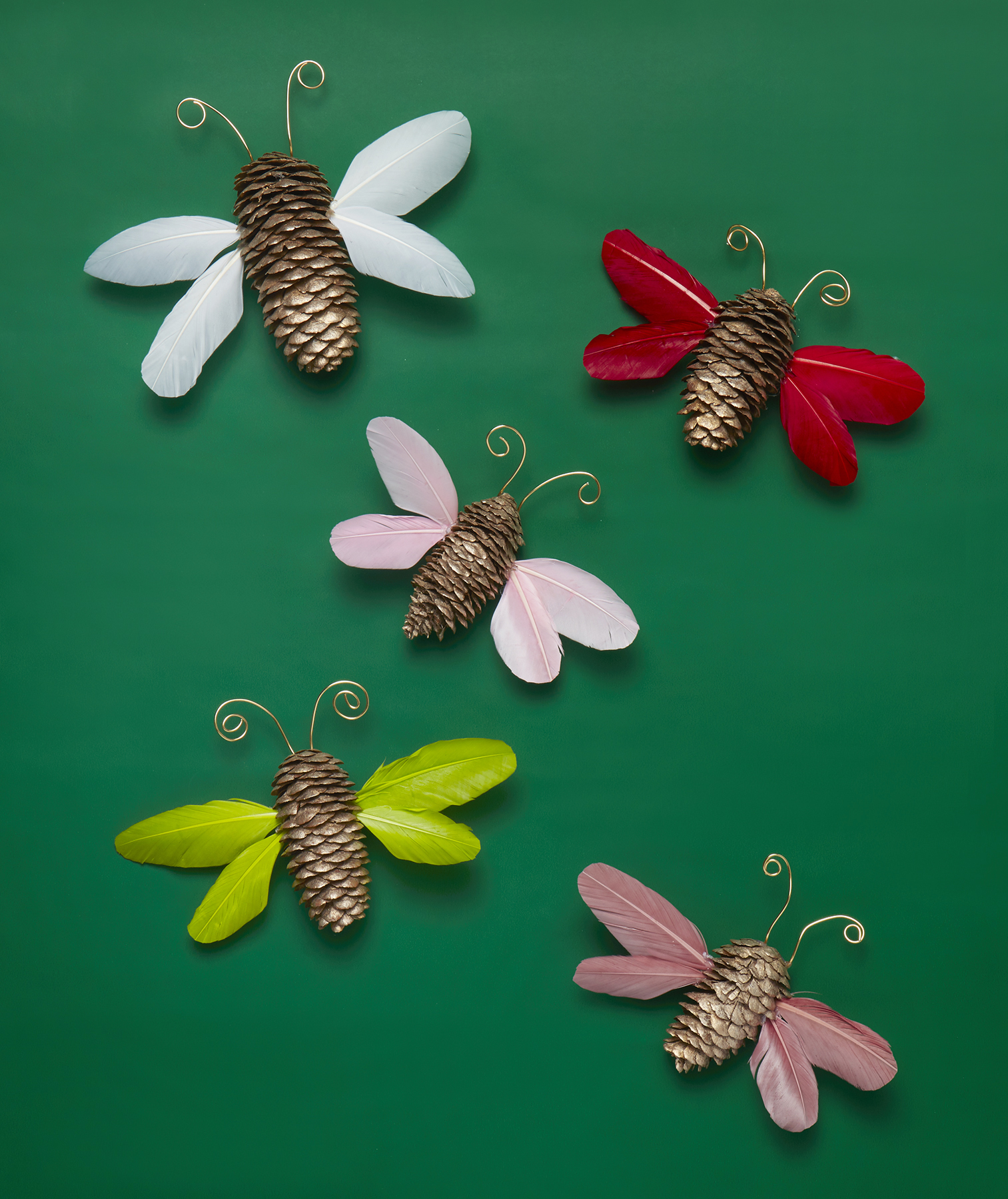 Christmas crafts ideas - Pinecone Butterfly Ornaments