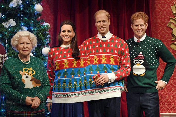 Royal Family Wax Figures in Ugly Sweaters