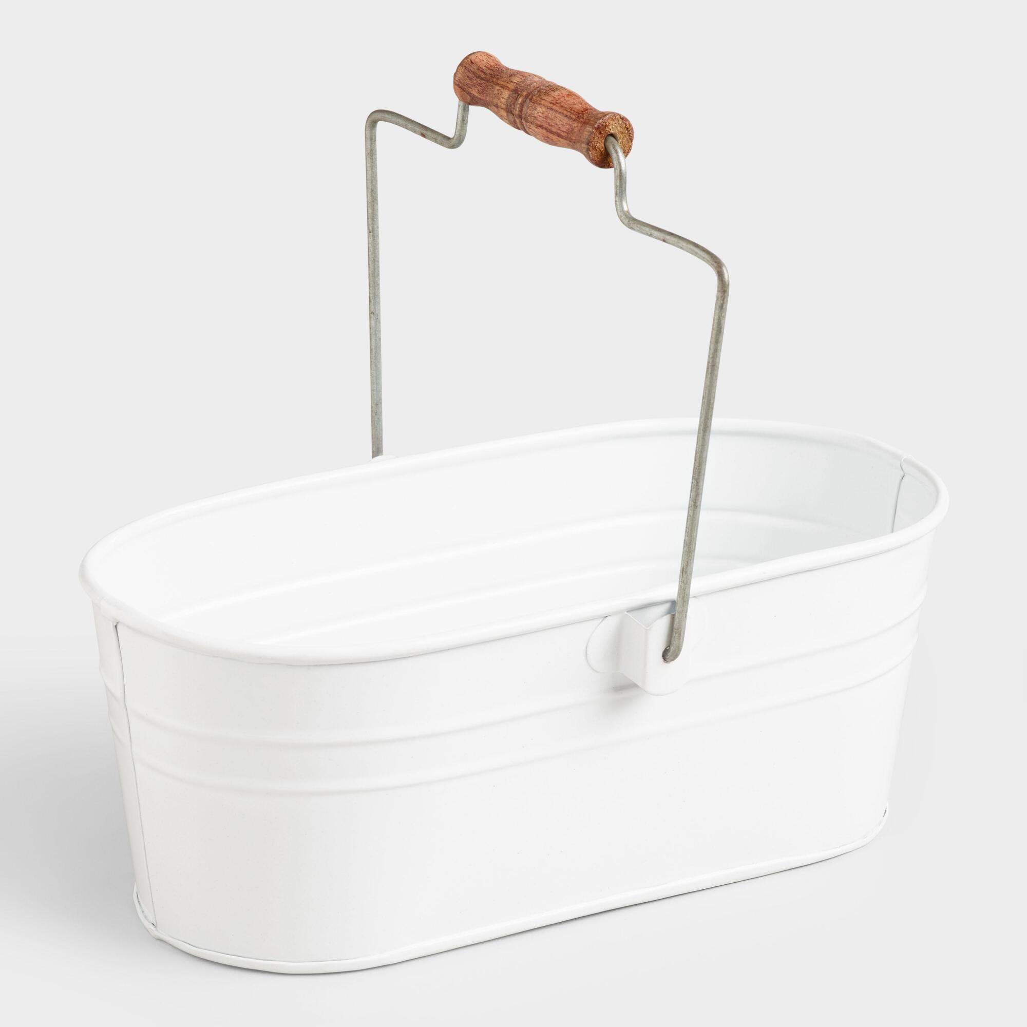 White metal cleaning caddy with handle
