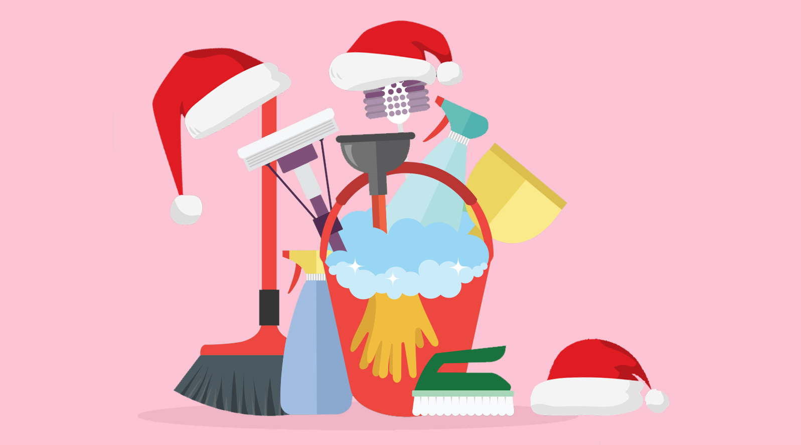Holiday Cleaning Hacks and Time Savers, cleaning supplies illustrated