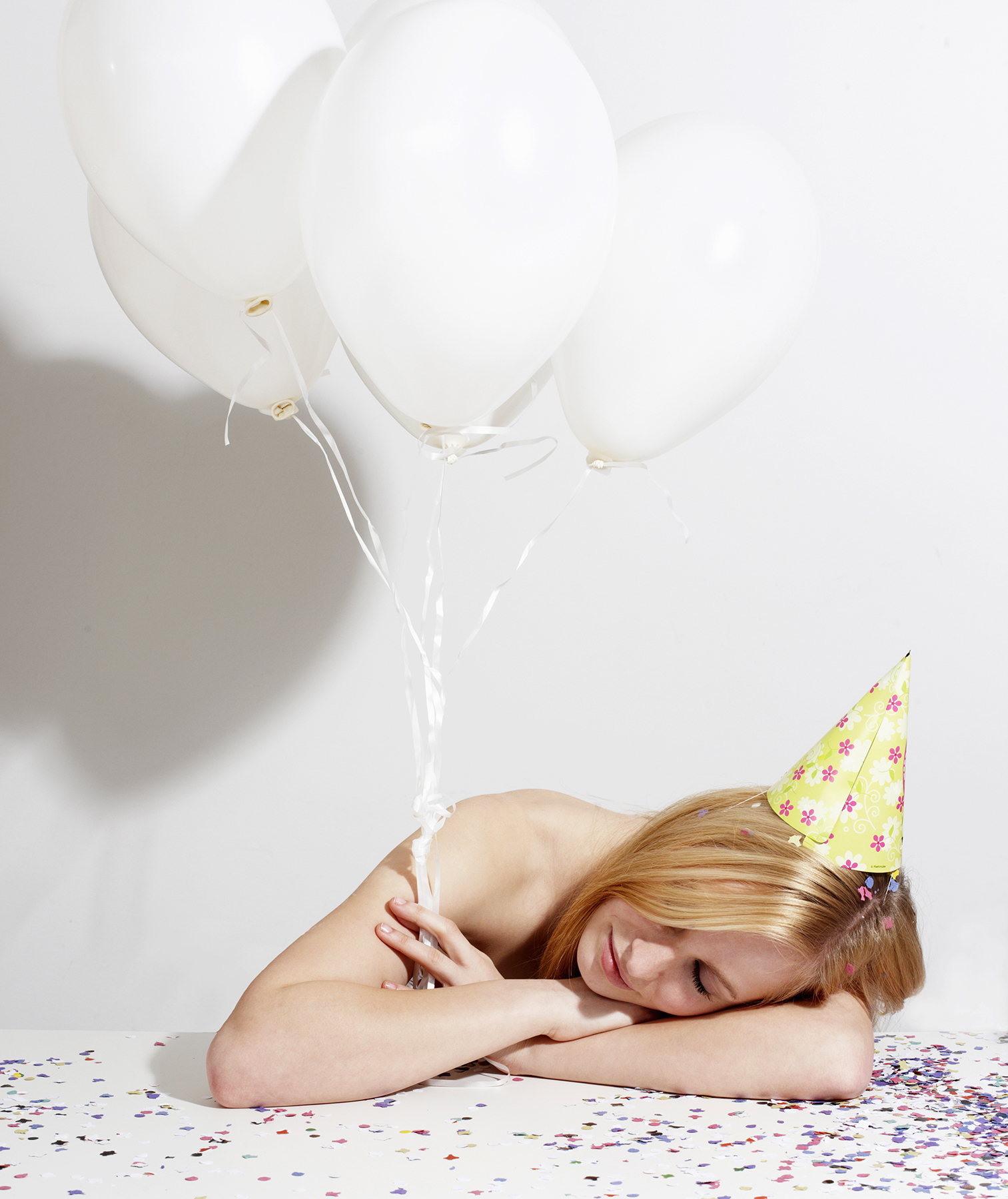 Woman asleep at a party
