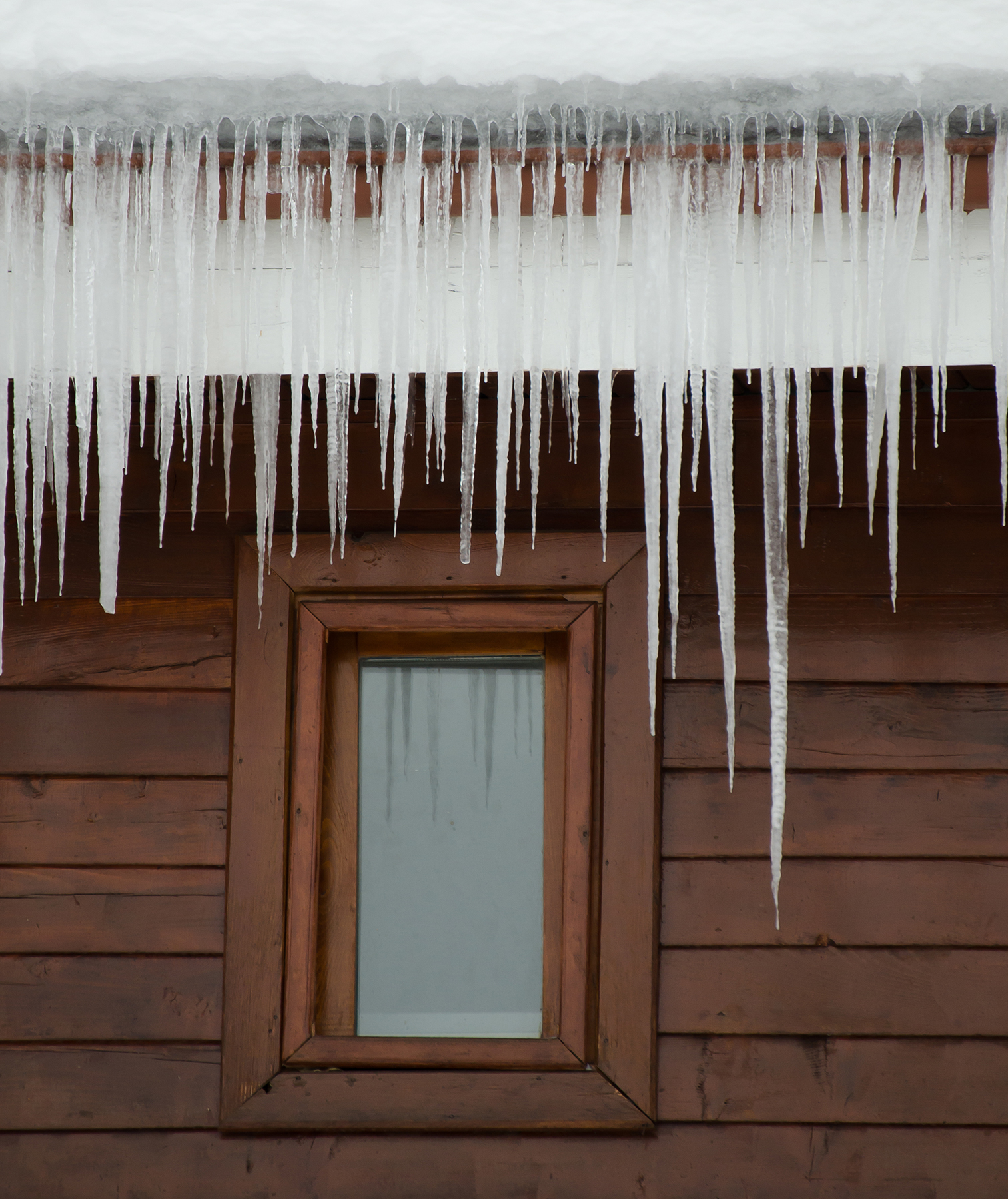 Icicles hanging off a roof