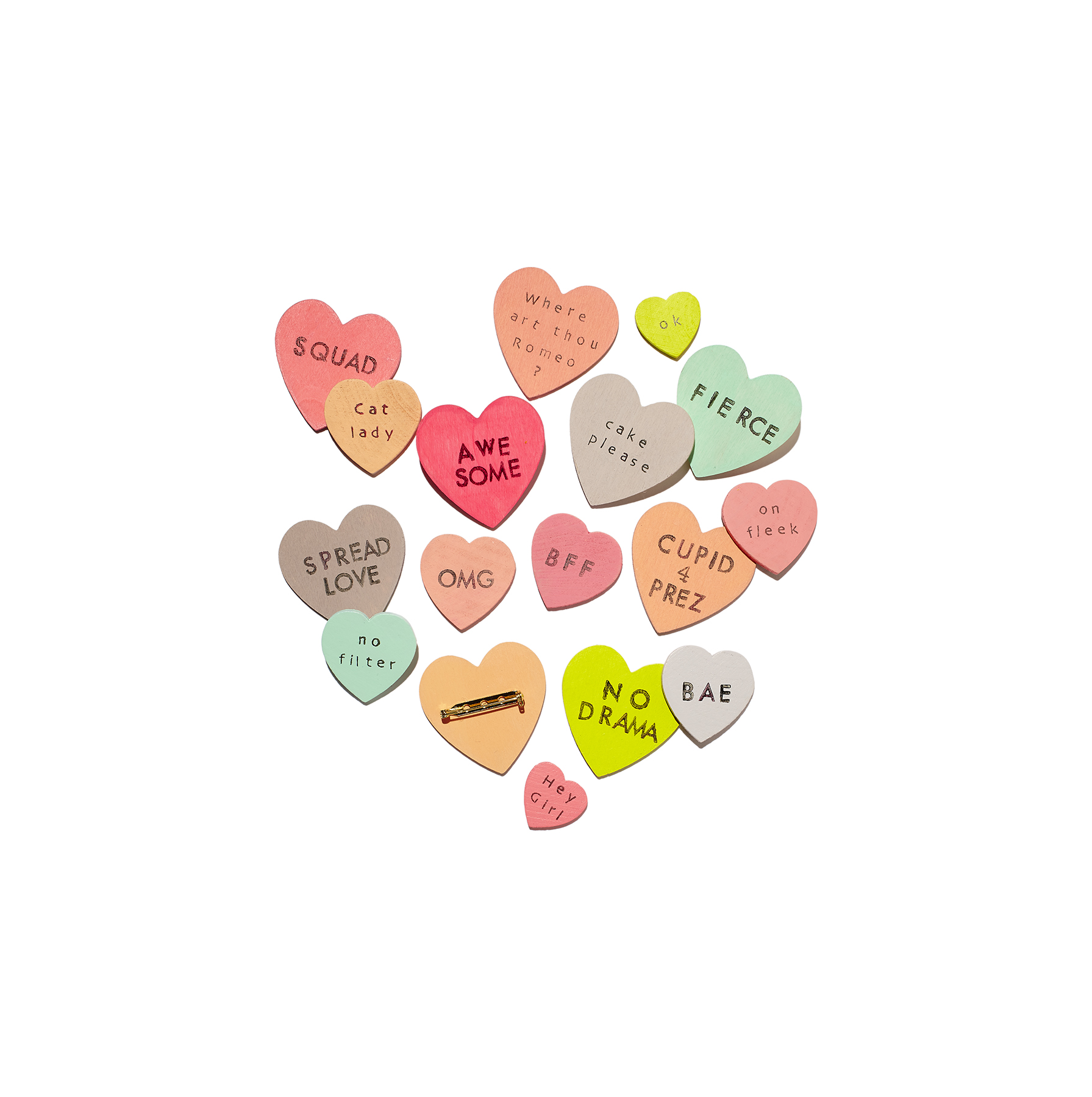 Valentine's Day crafts - Conversation Heart Wood Pins/Brooches