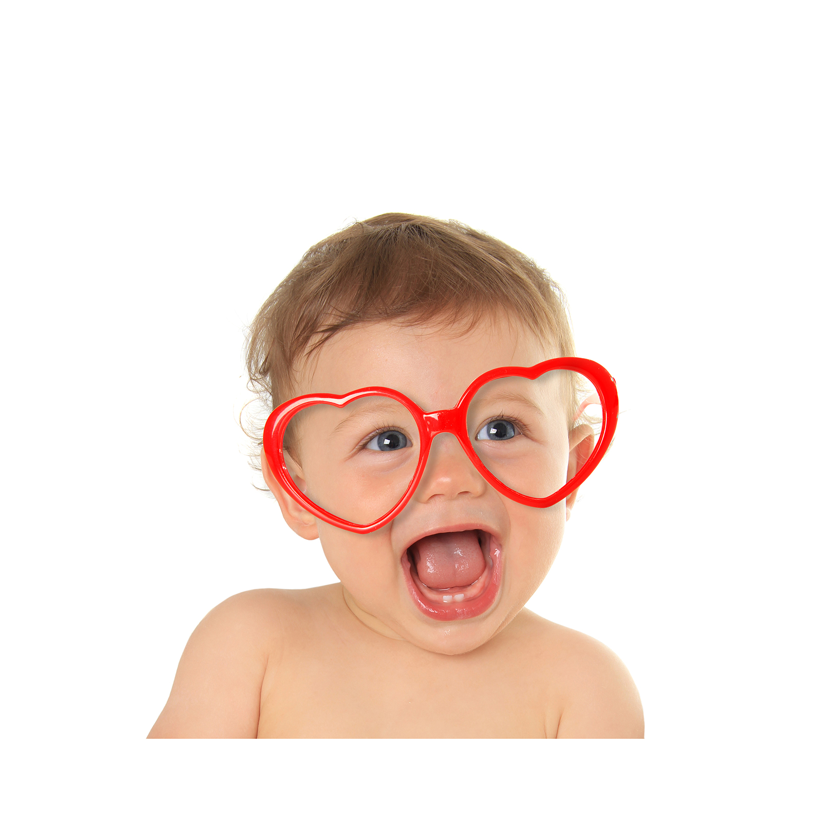 Baby with heart glasses