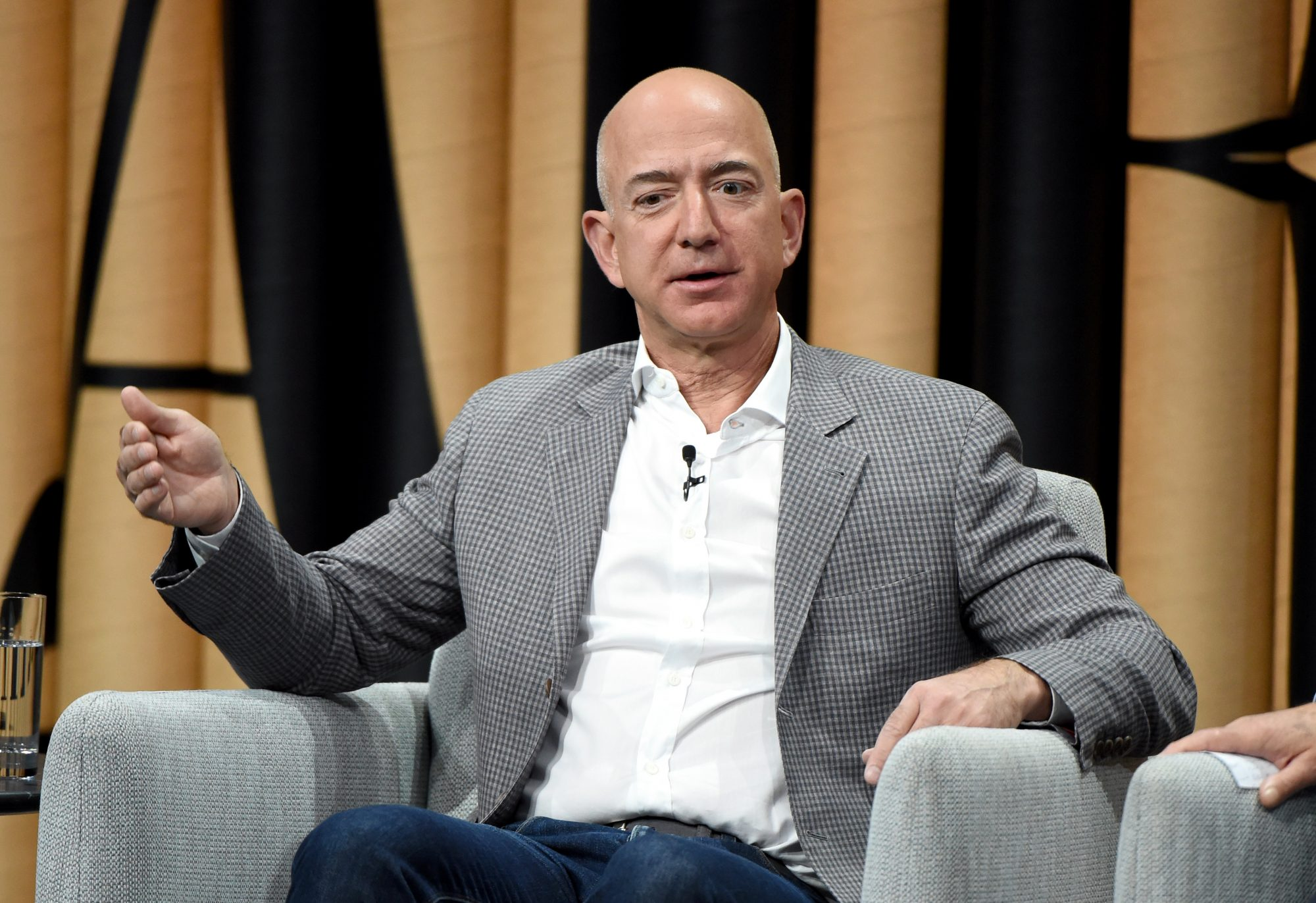 """Founder of Amazon, Jeff Bezos, speaks onstage during """"The Prime of Mr. Jeff Bezos"""" at the Vanity Fair New Establishment Summit at Yerba Buena Center for the Arts on October 20, 2016 in San Francisco, California."""