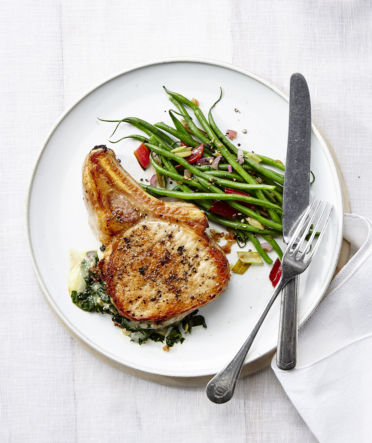 Chard-Stuffed Pork Chops with Green Beans