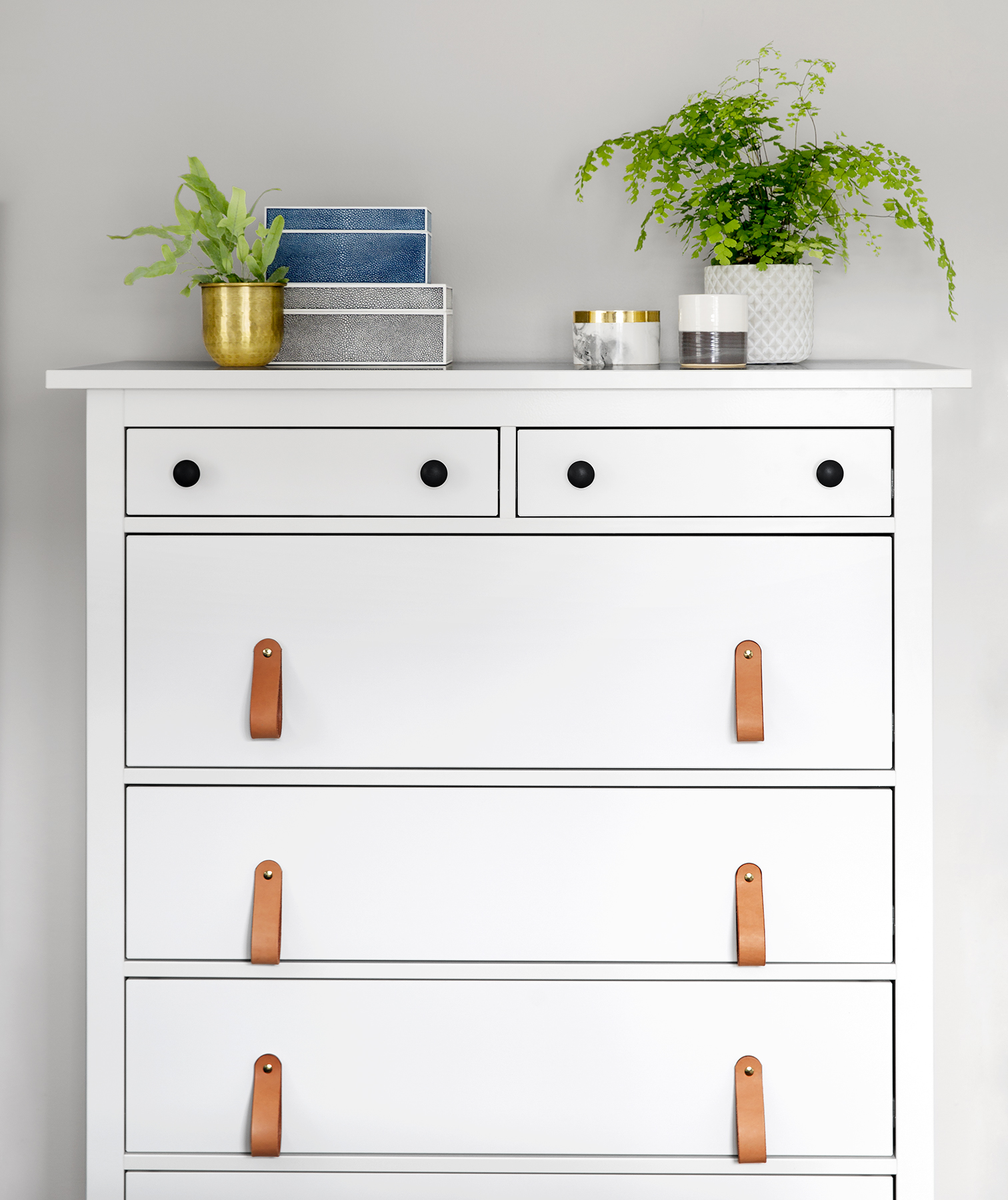 White dresser with leather pulls