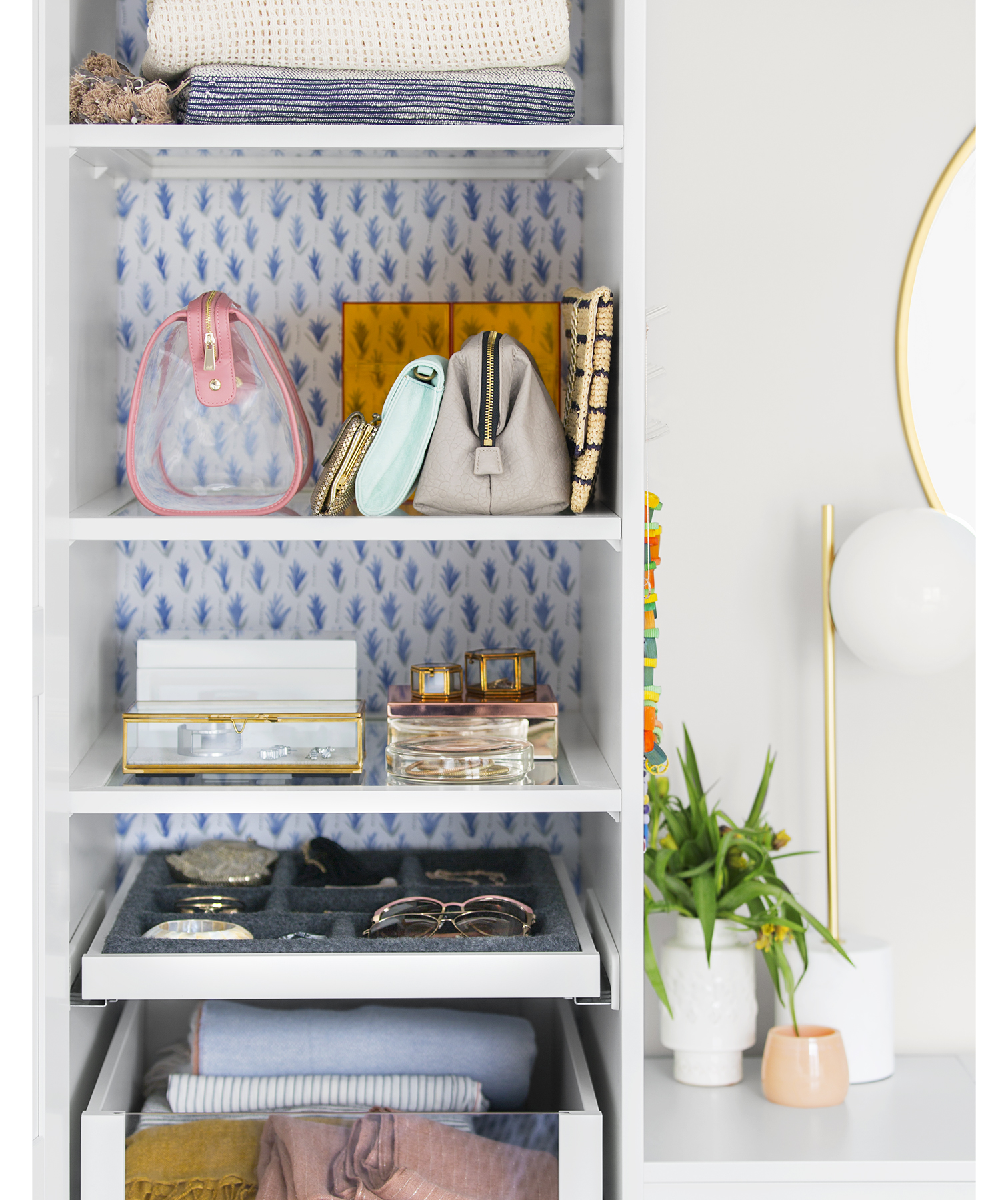Patterned papered shelves