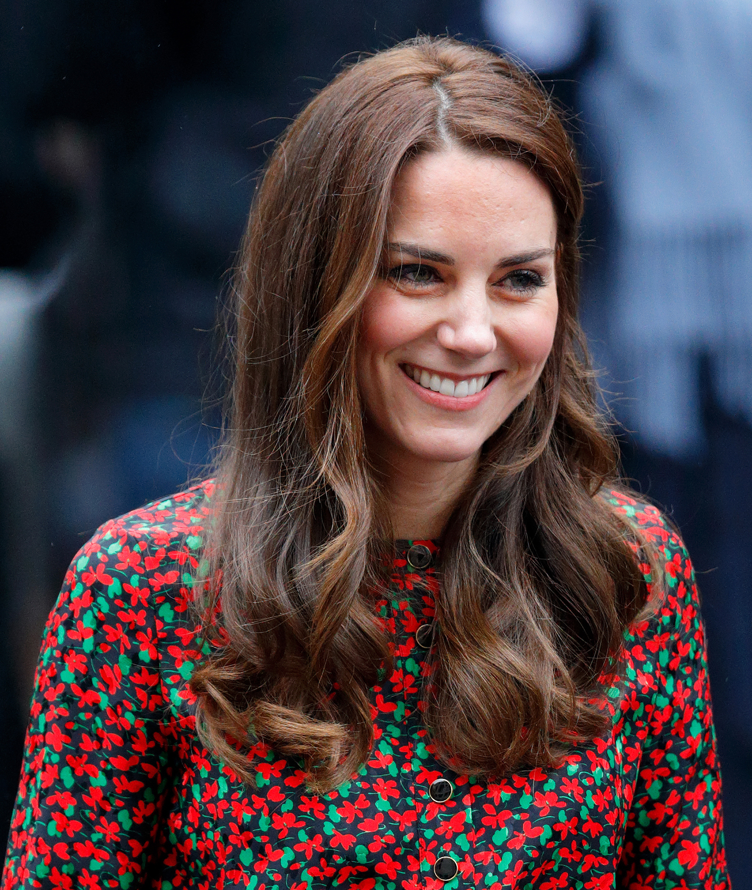 Kate Middleton Smiling in Floral Dress
