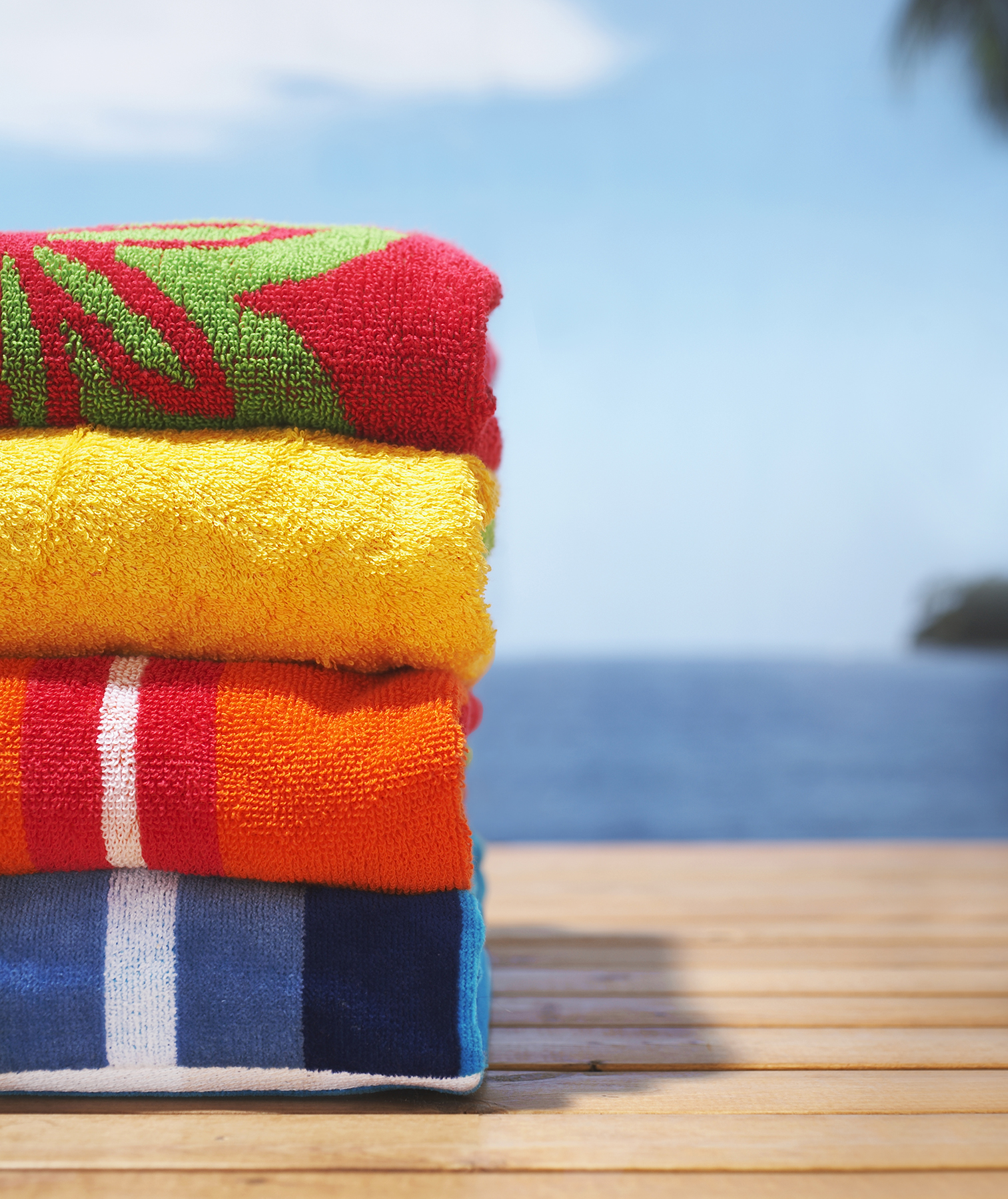 Stack of beach towels