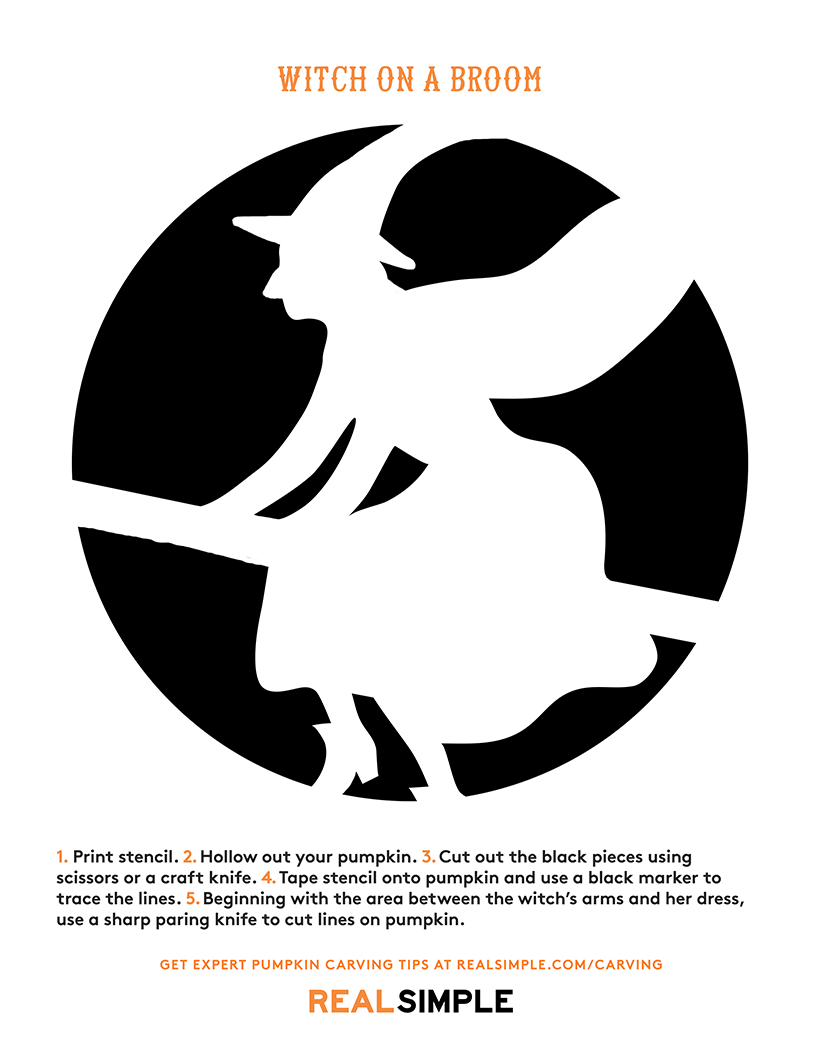Pumpkin carving stencil: Witch on a Broom template print-out