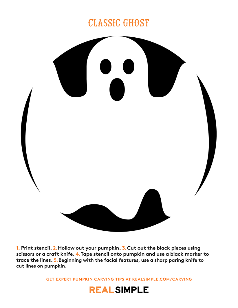Pumpkin carving stencil - classic ghost template print-out